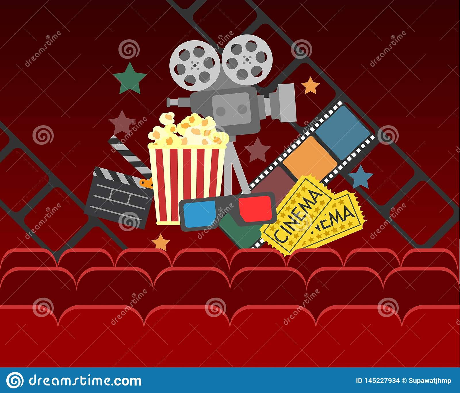 Movie cinema poster design.vector banner for show with curtains,seats,popcorn, tickets