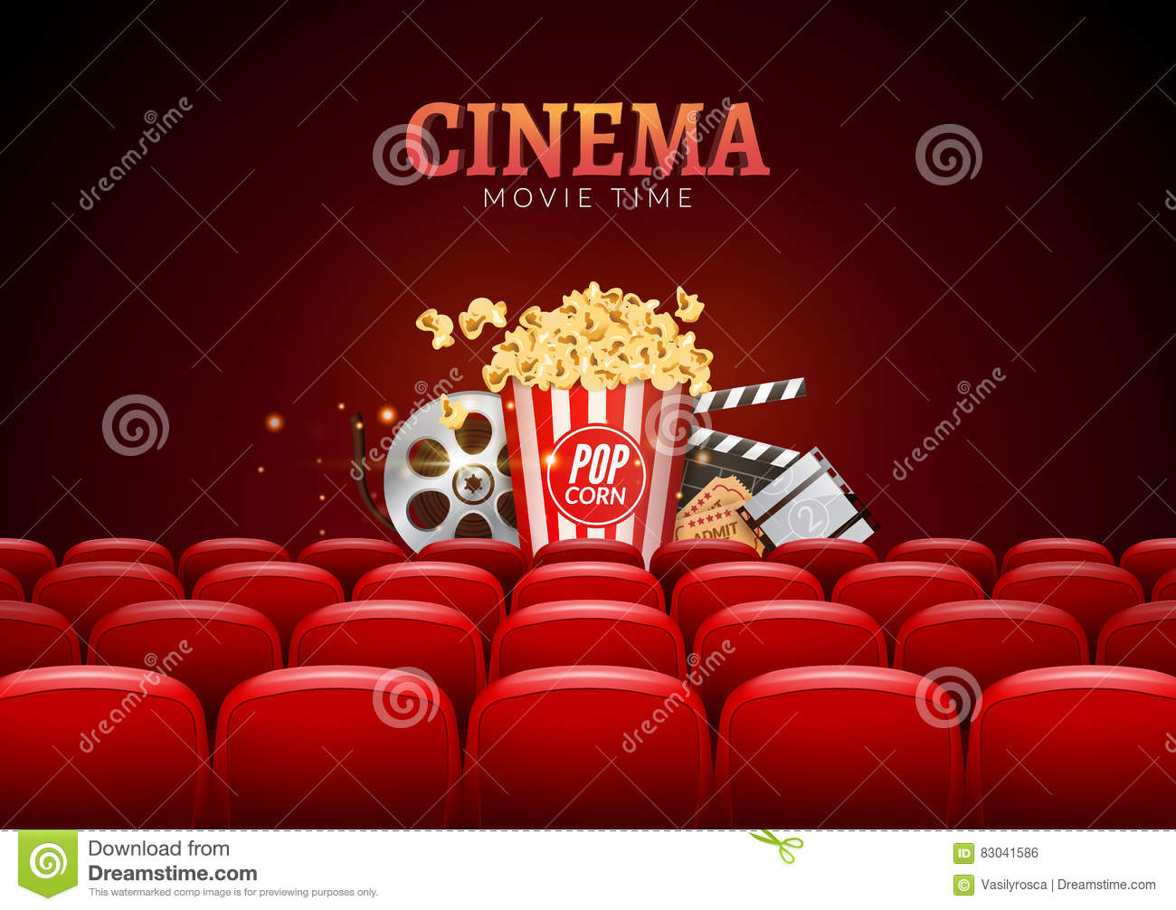 Movie Cinema Premiere Poster Design. Vector Template Banner For Show ...