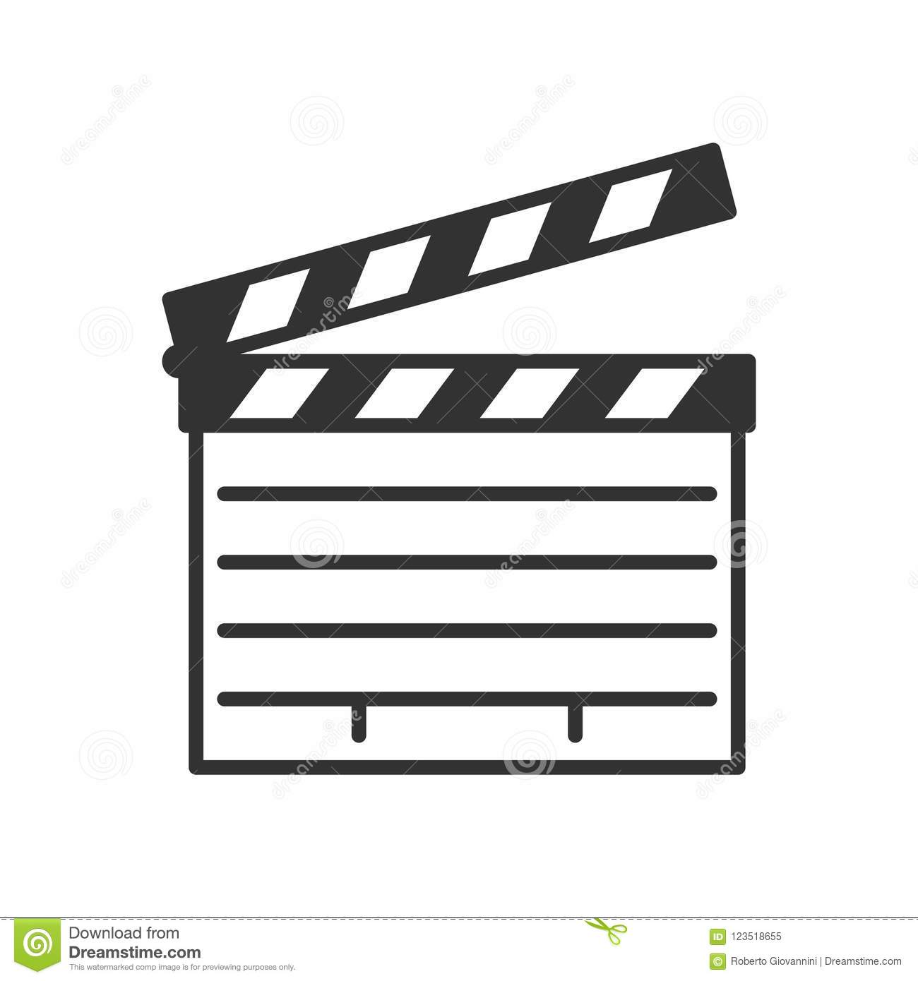 Movie Clapboard Outline Flat Icon on White