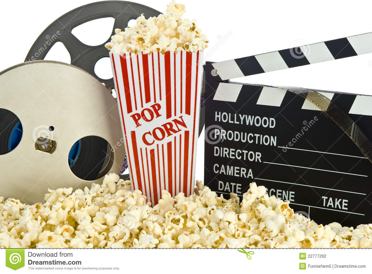 Movie Clapper Board In Popcorn With Film Reel Stock Photo Image Of