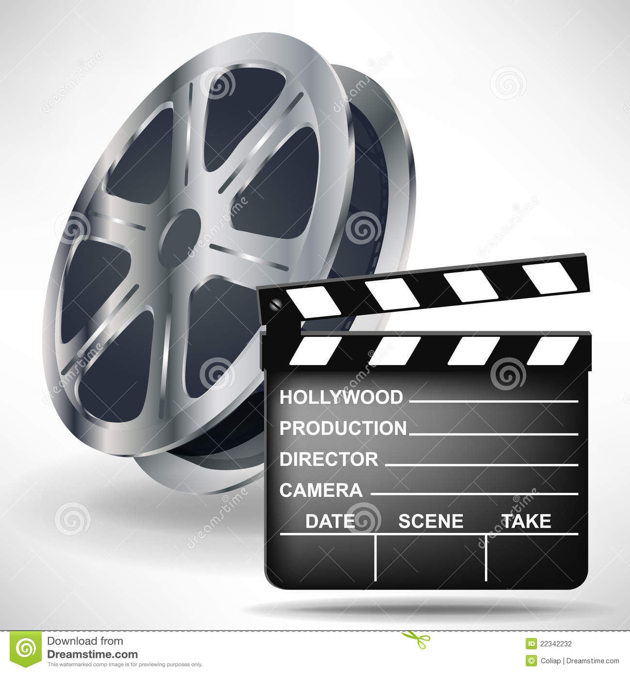 Movie Clapper With Film Reel Stock Vector Illustration Of