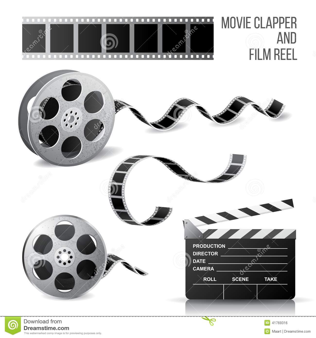 Movie clapper and film reel