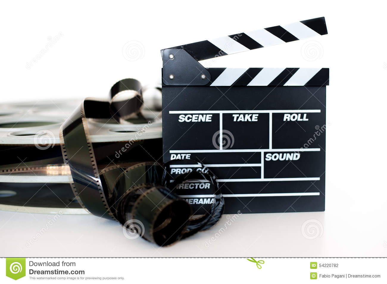 Download Movie Clapper And Vintage 35 Mm Film Cinema Reel On White Stock Photo - Image of entertainment, professional: 54220782