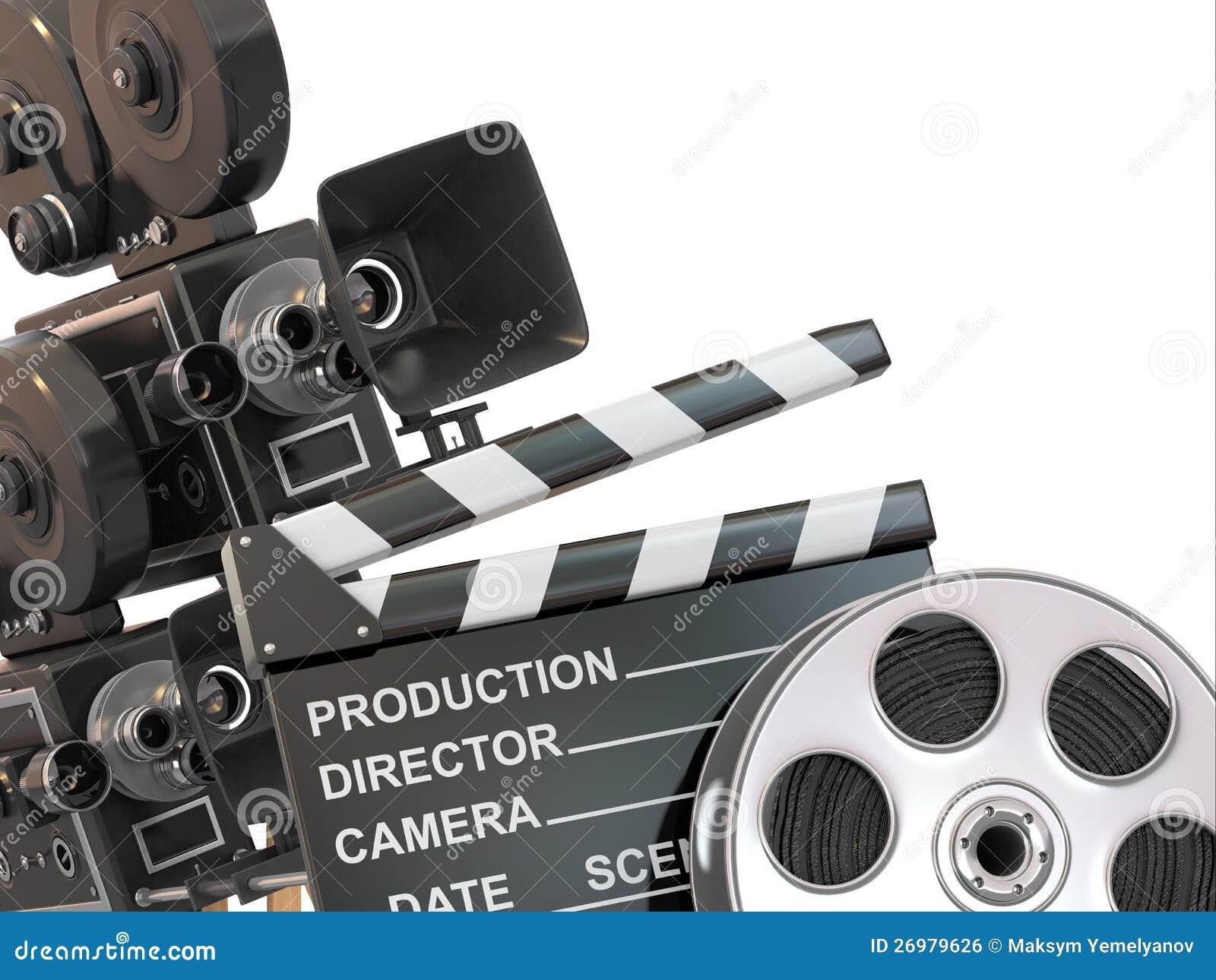 movie composition vintage camera reel stock illustration