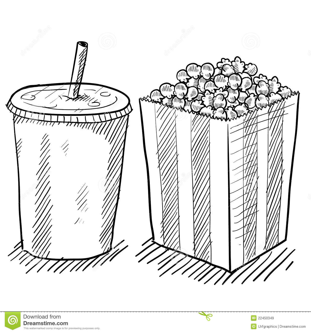 Doodle style movie concessions in vector format including popcorn and ...