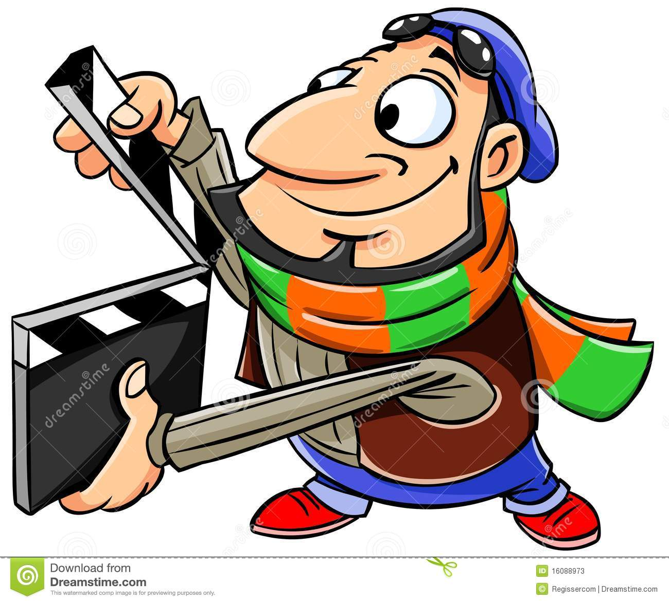 movie director holds a clapper board stock illustration