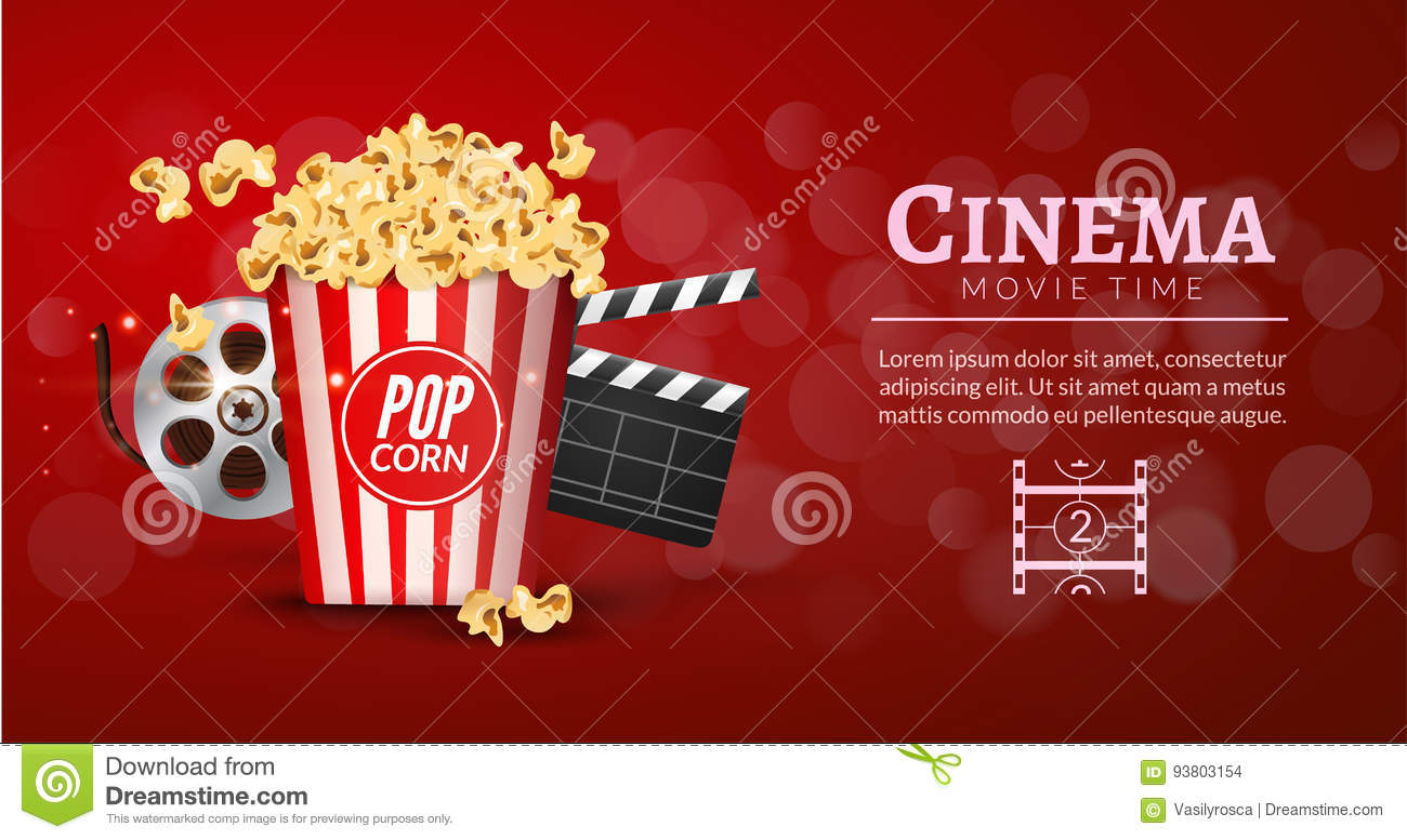Movie Film Banner Design Template Cinema Concept With Popcorn