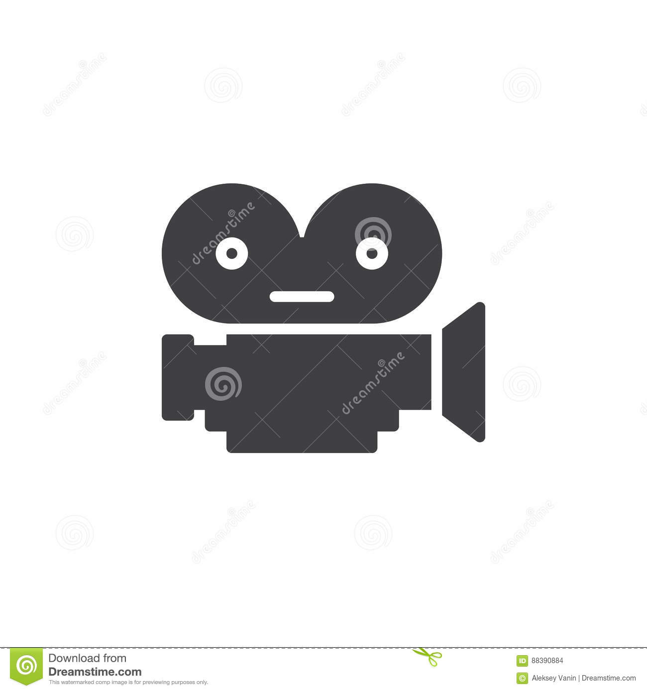 Movie film camera icon vector, filled flat sign, solid pictogram isolated on white.