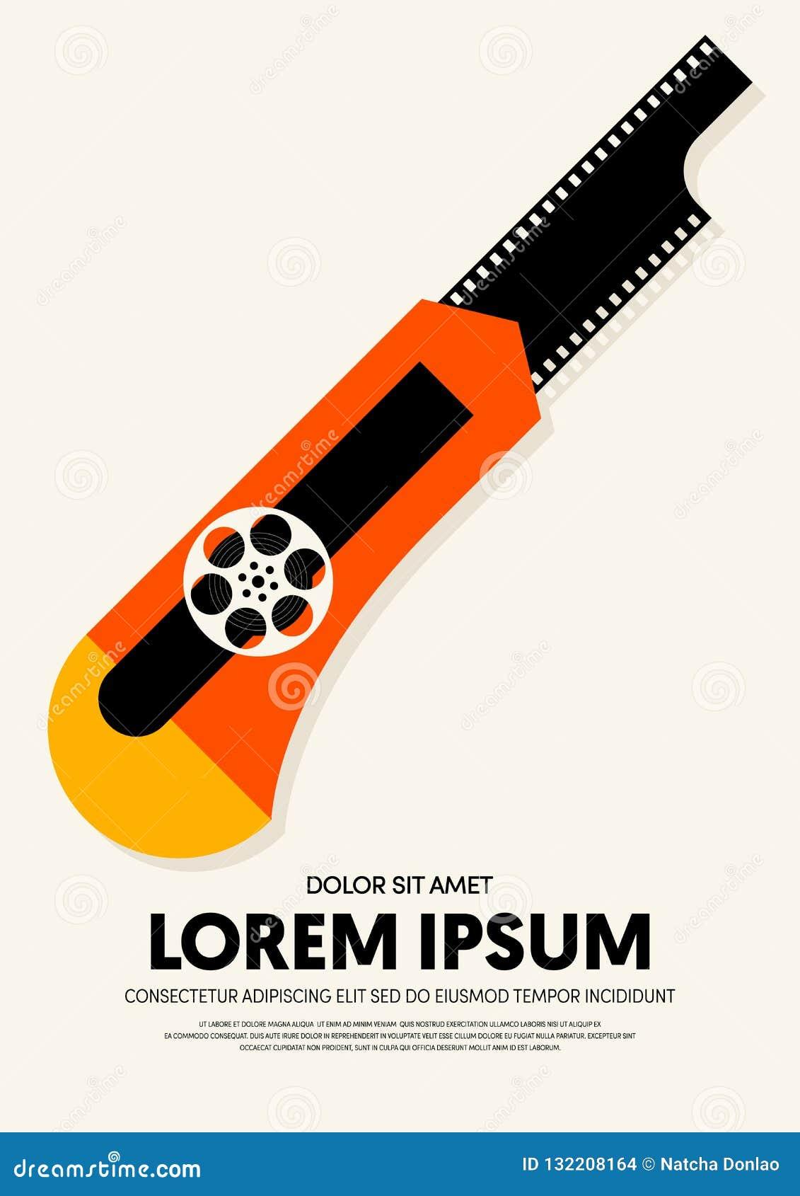 Movie And Film Poster Design Template Background Modern Vintage Retro Style Stock Illustration Illustration Of Design Frame 132208164