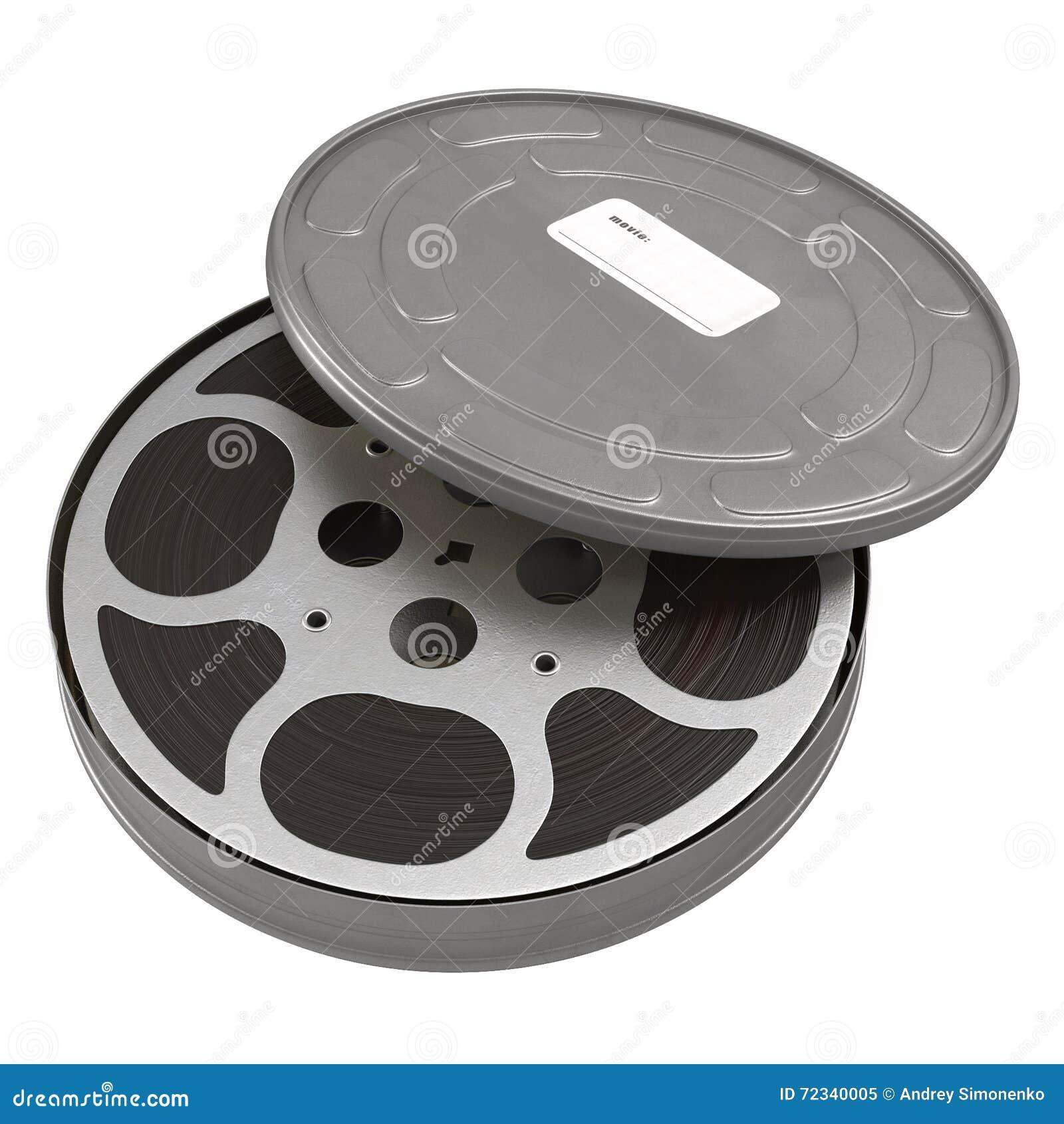 Movie Film Reel Case On White 3d Illustration Stock Illustration