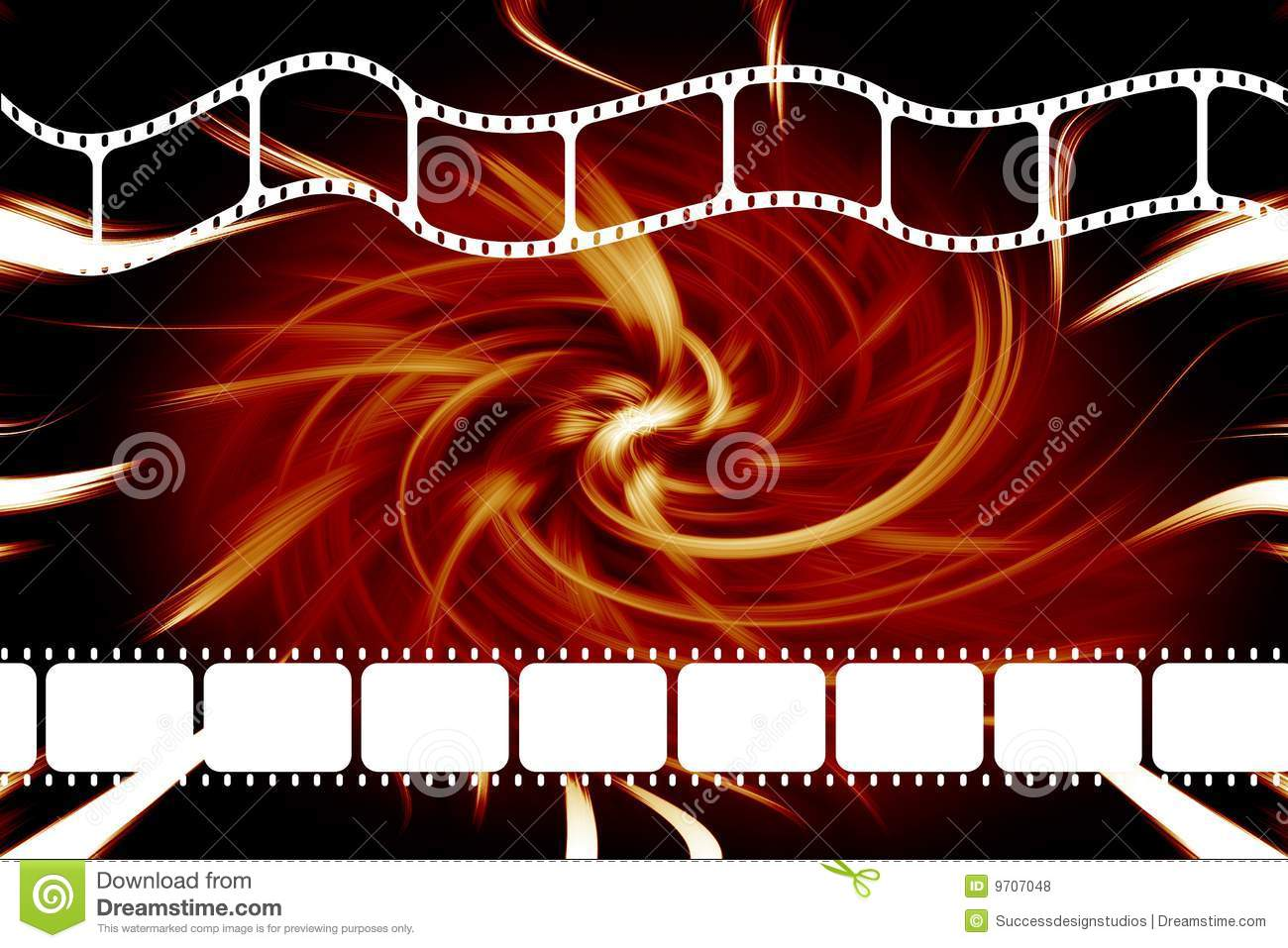modern theatre movie 35mm film dvd or reel strip over swirl red and ...