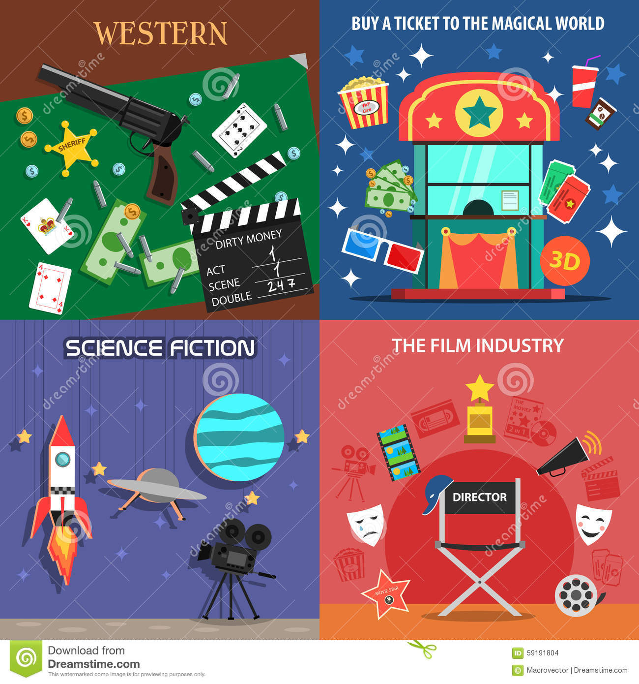 Movie Flat Icons Set stock vector. Image of clap, science ...