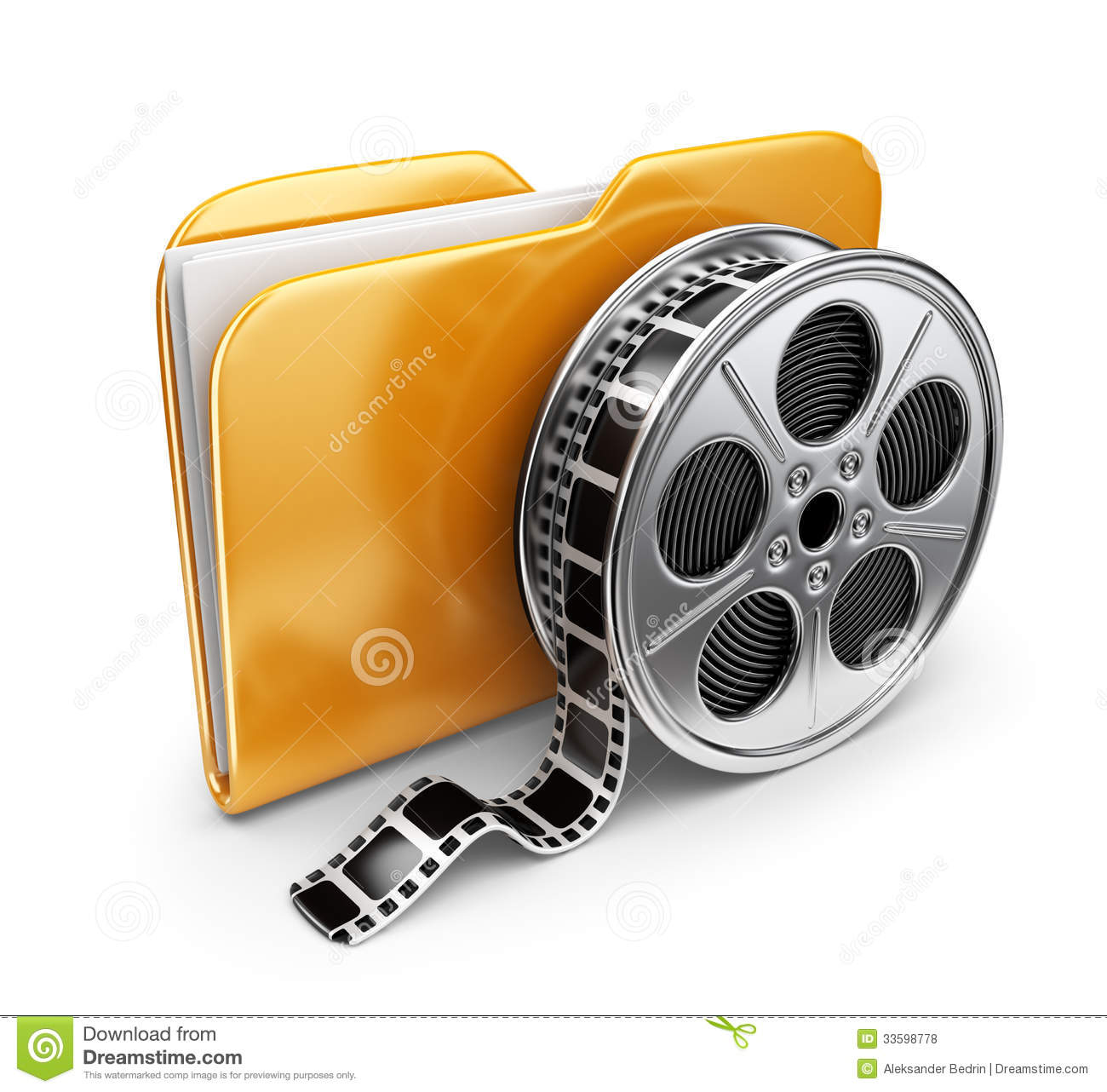 Movie Folder With A Films Spool. 3D Icon Isolated Royalty Free Stock ...