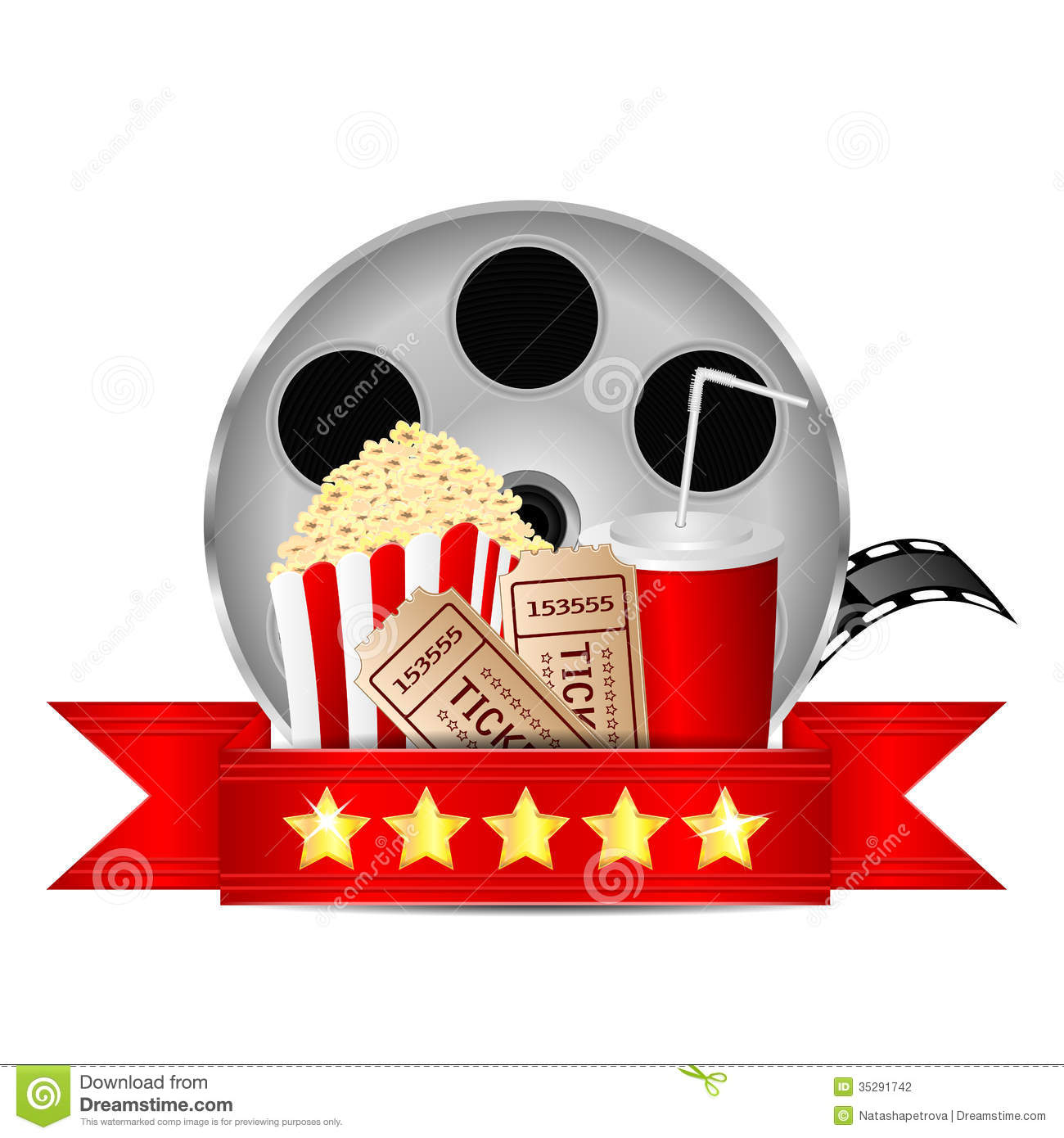Movie icon.items for cinema on white background.