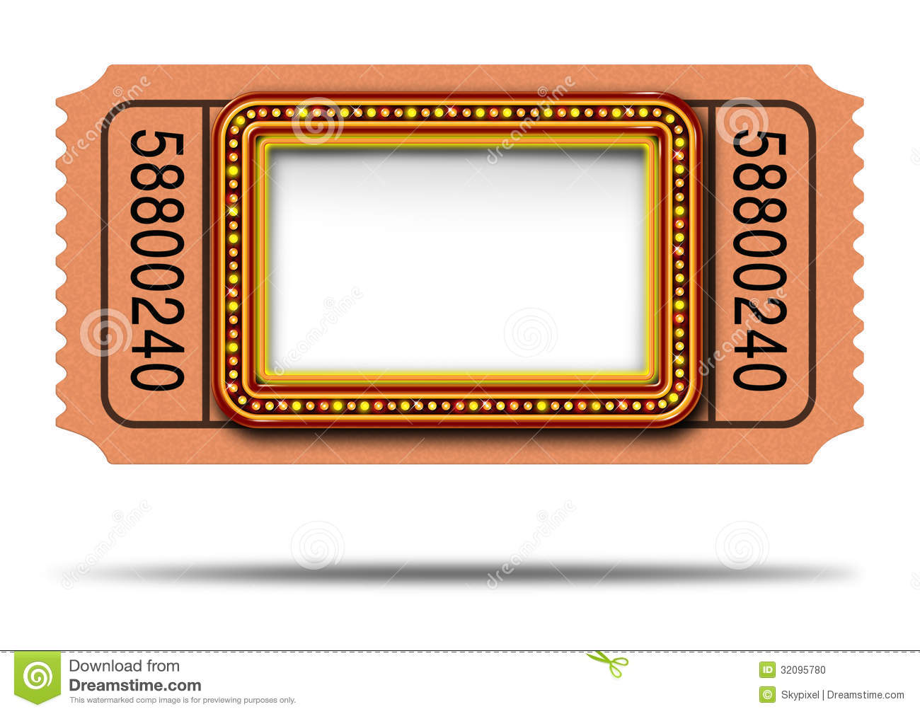 Marquee Lights Clipart Movie marquee ticket with
