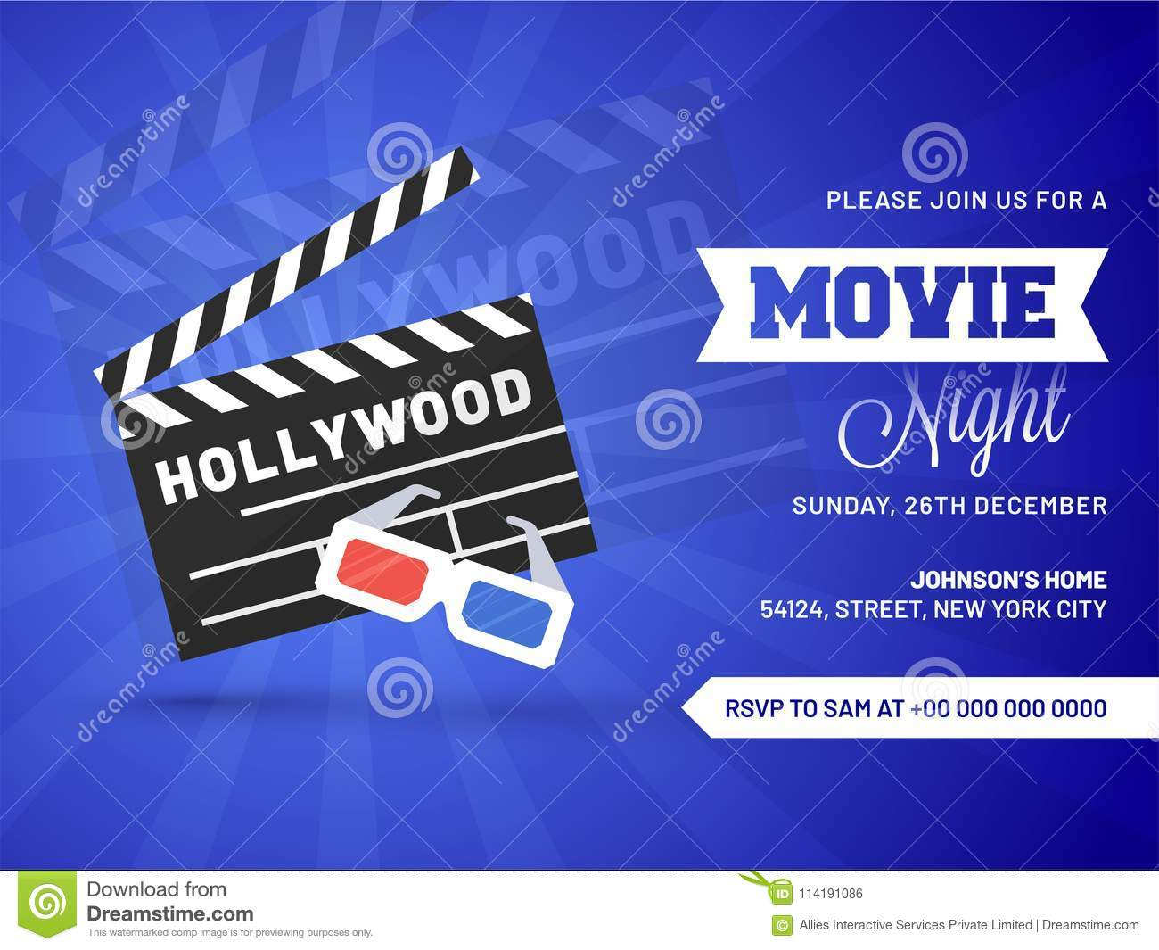 movie night concept creative template for cinema poster banner