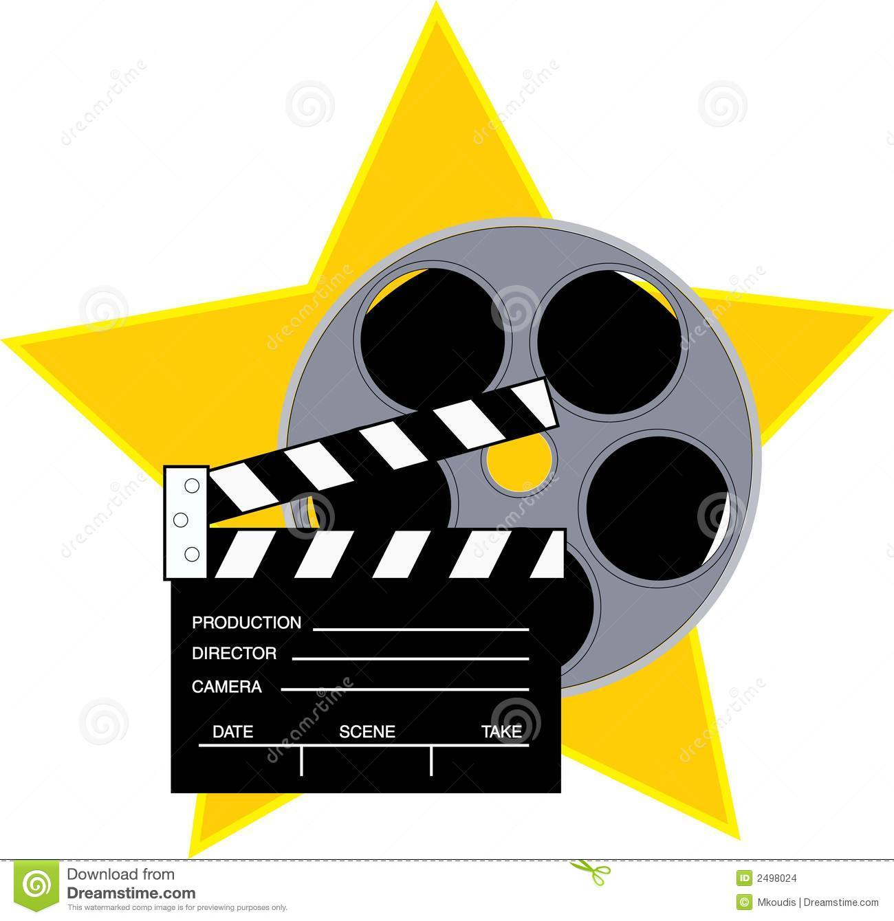 Movie reel and clapboard with a star background.
