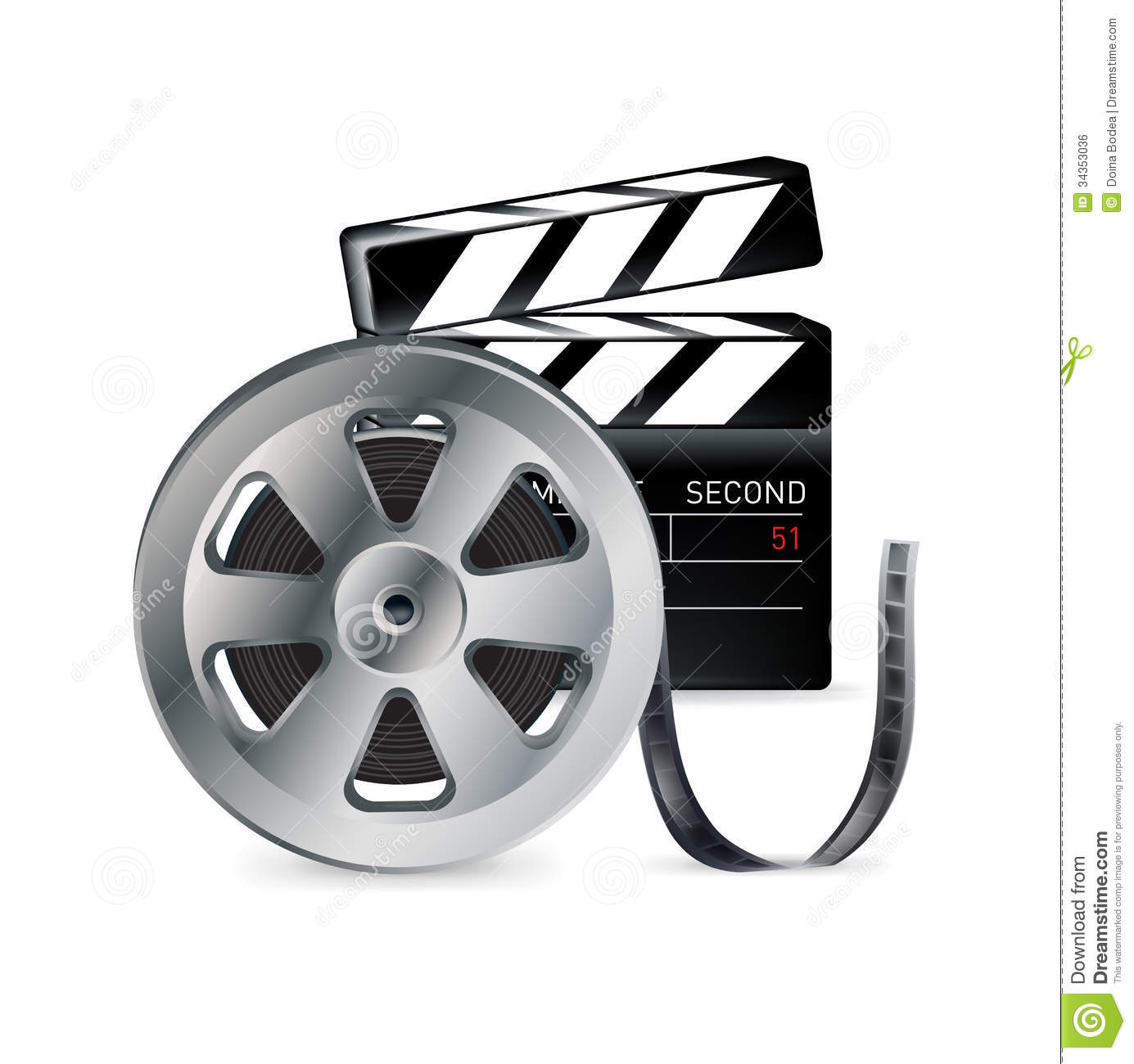 Movie Reel And Clapper Isolated On White Stock Vector Illustration
