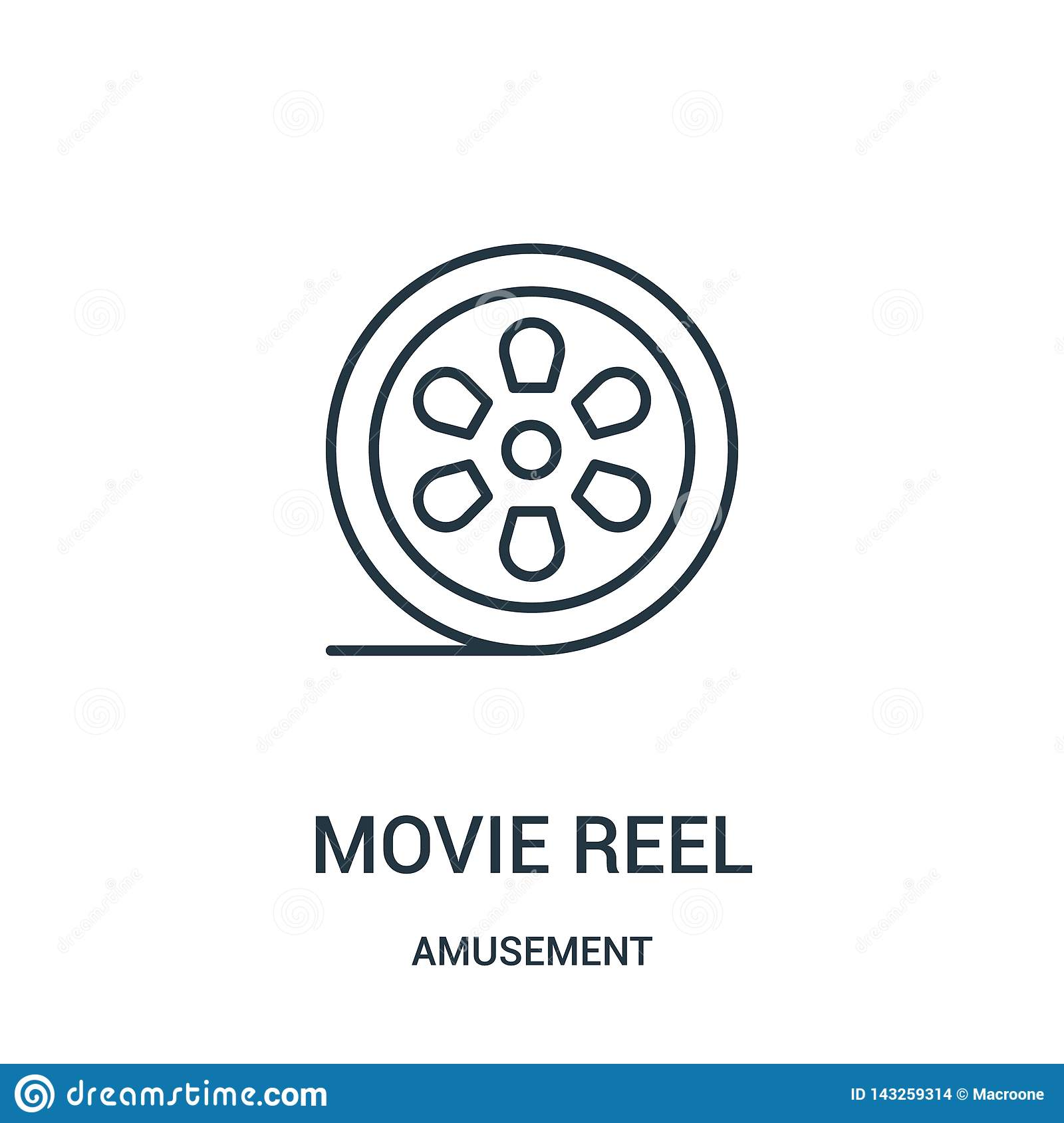 movie reel icon vector from amusement collection. Thin line movie reel outline icon vector illustration