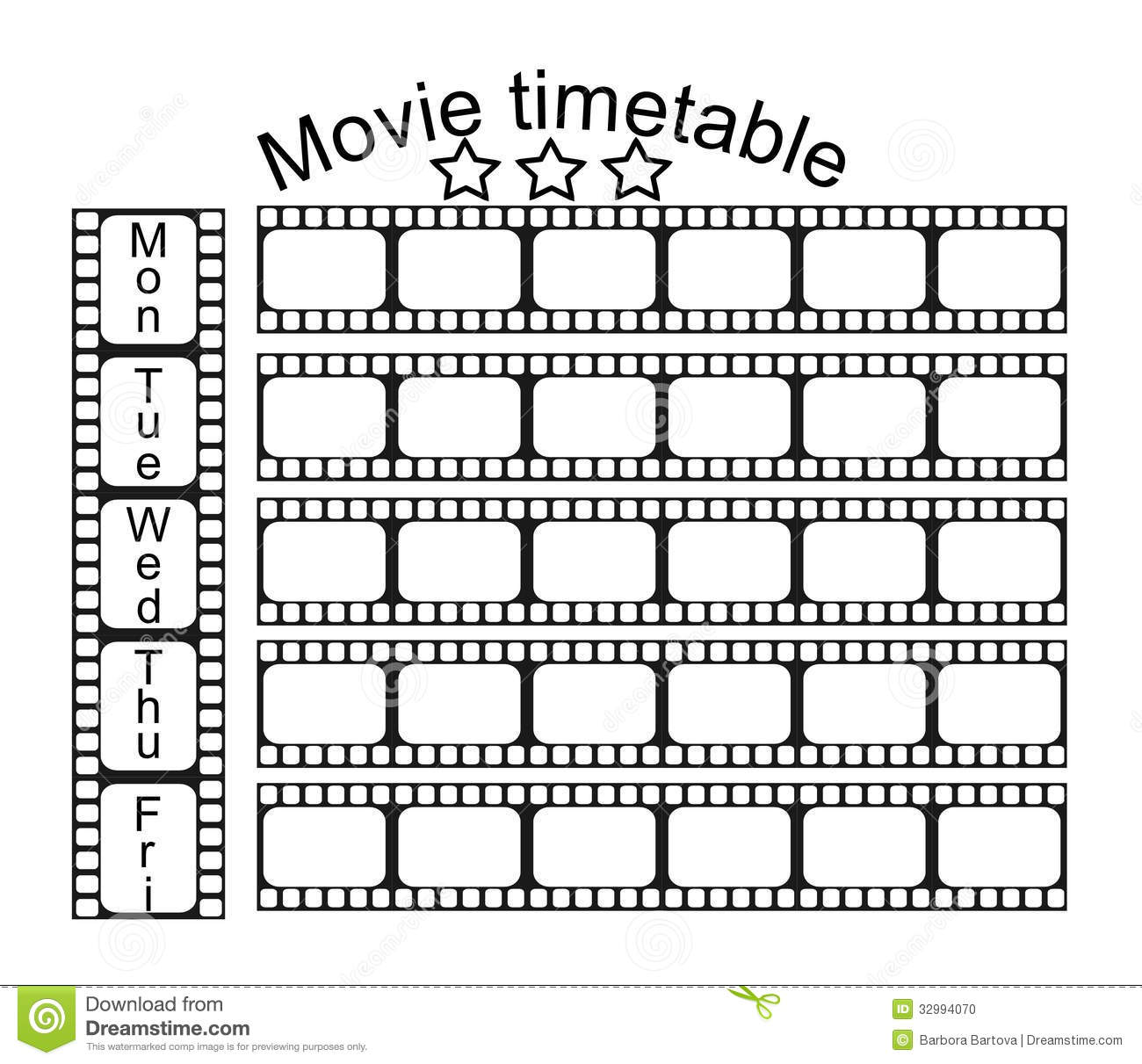 Quotes On School Time Table: Movie School Timetable Stock Vector. Illustration Of Table