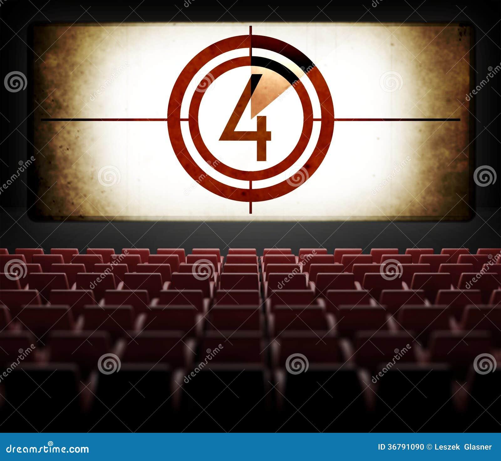 Movie Screen Countdown In Old Retro Cinema Stock