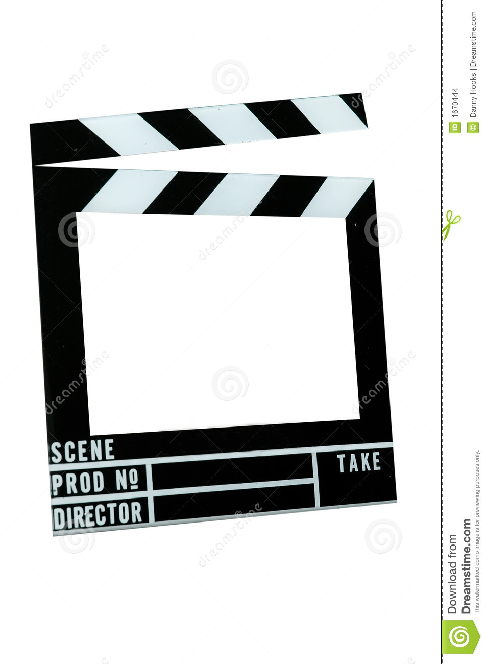 Movie slate board frame. Isolated image with clipping path.