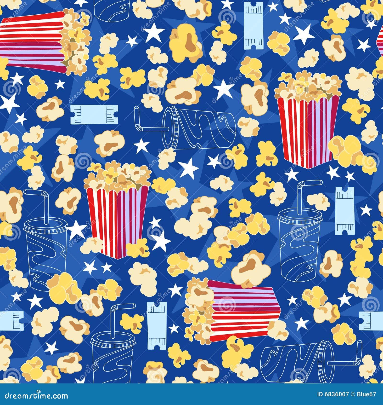 Popcorn Wallpaper: Movie Theater Popcorn Seamless Pattern Royalty Free Stock