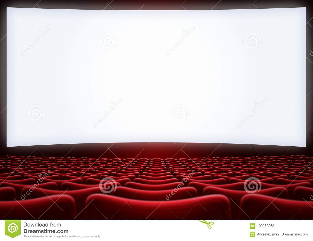 Picture of: Movie Theater Screen With Red Seats 3d Illustration Stock Photo Image Of Movie Armchair 109252368