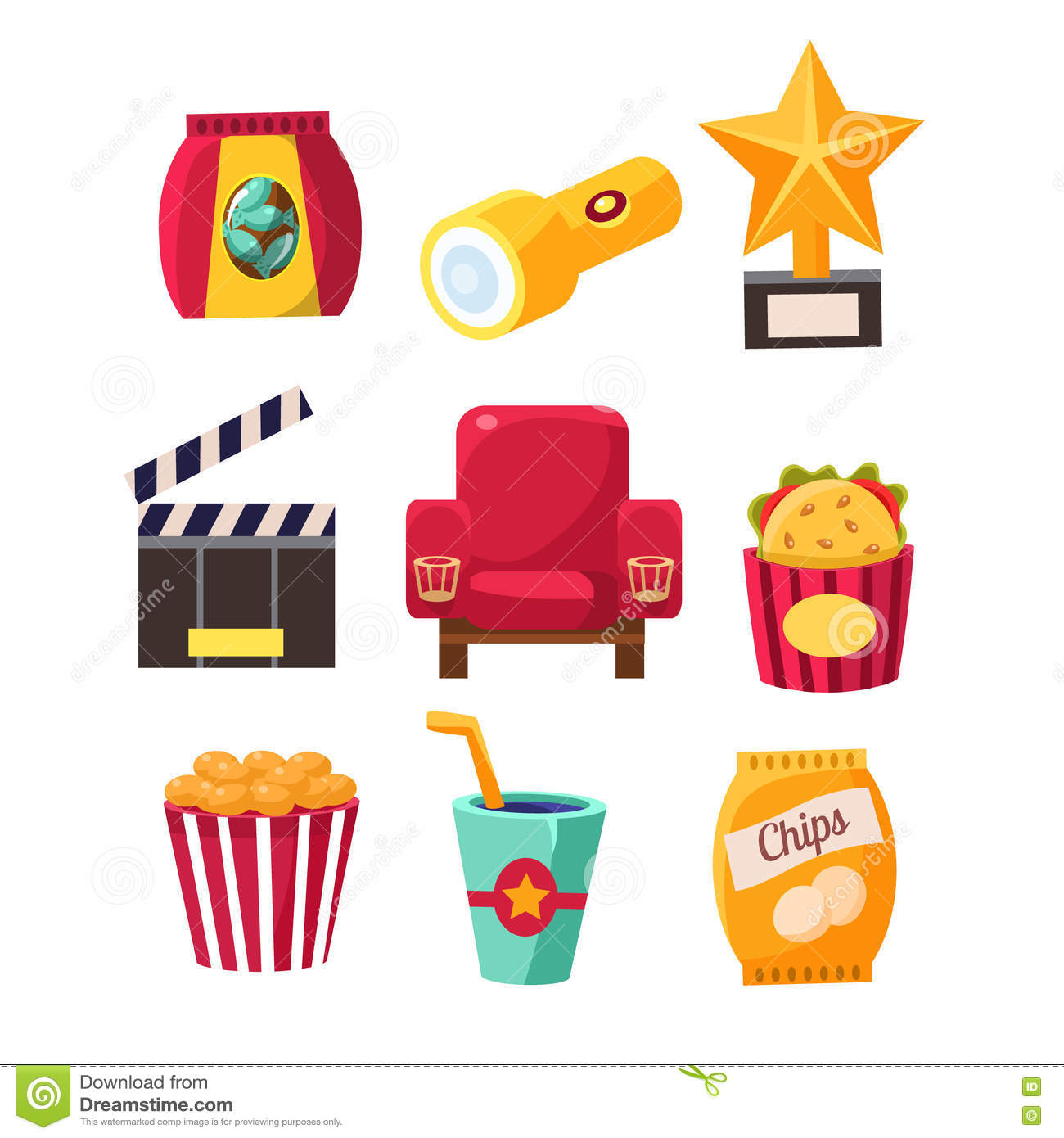 Movie Theatre Related Objects Collection Stock Vector