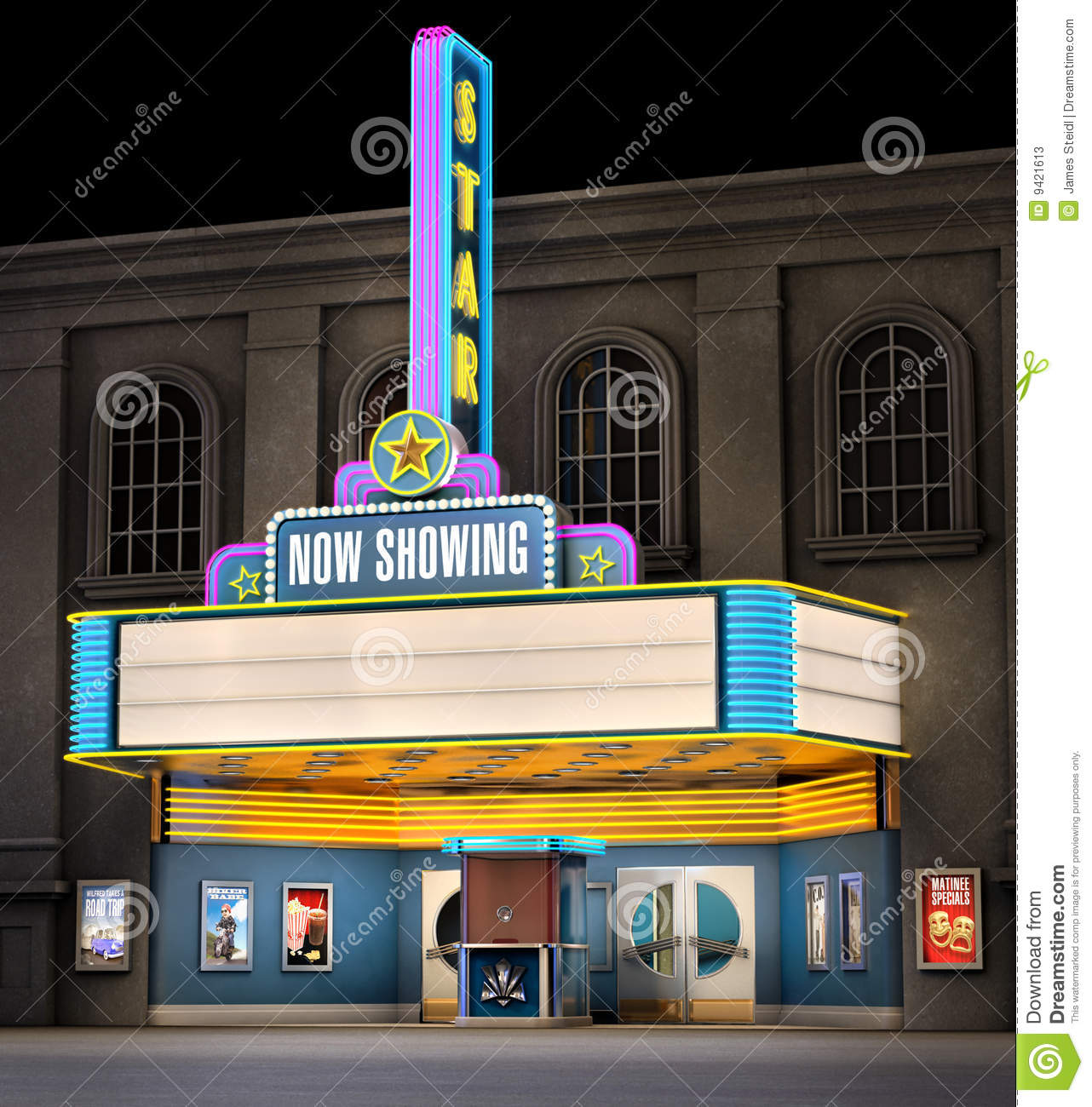 Free Download Film Box Office: Movie Theatre & Ticket Box Stock Illustration