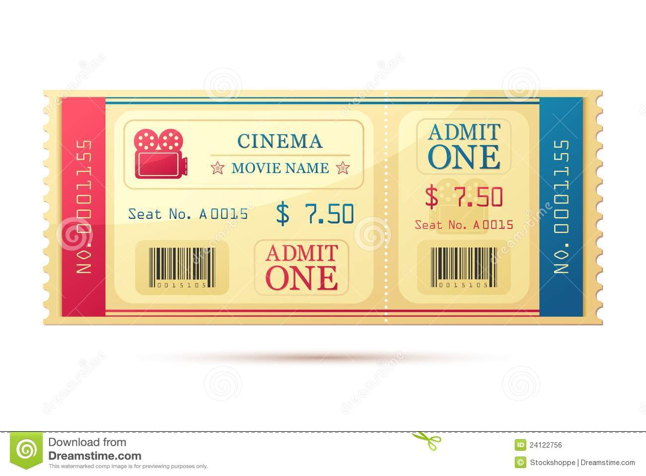 Movie Ticket Royalty Free Stock Image - Image: 24122756