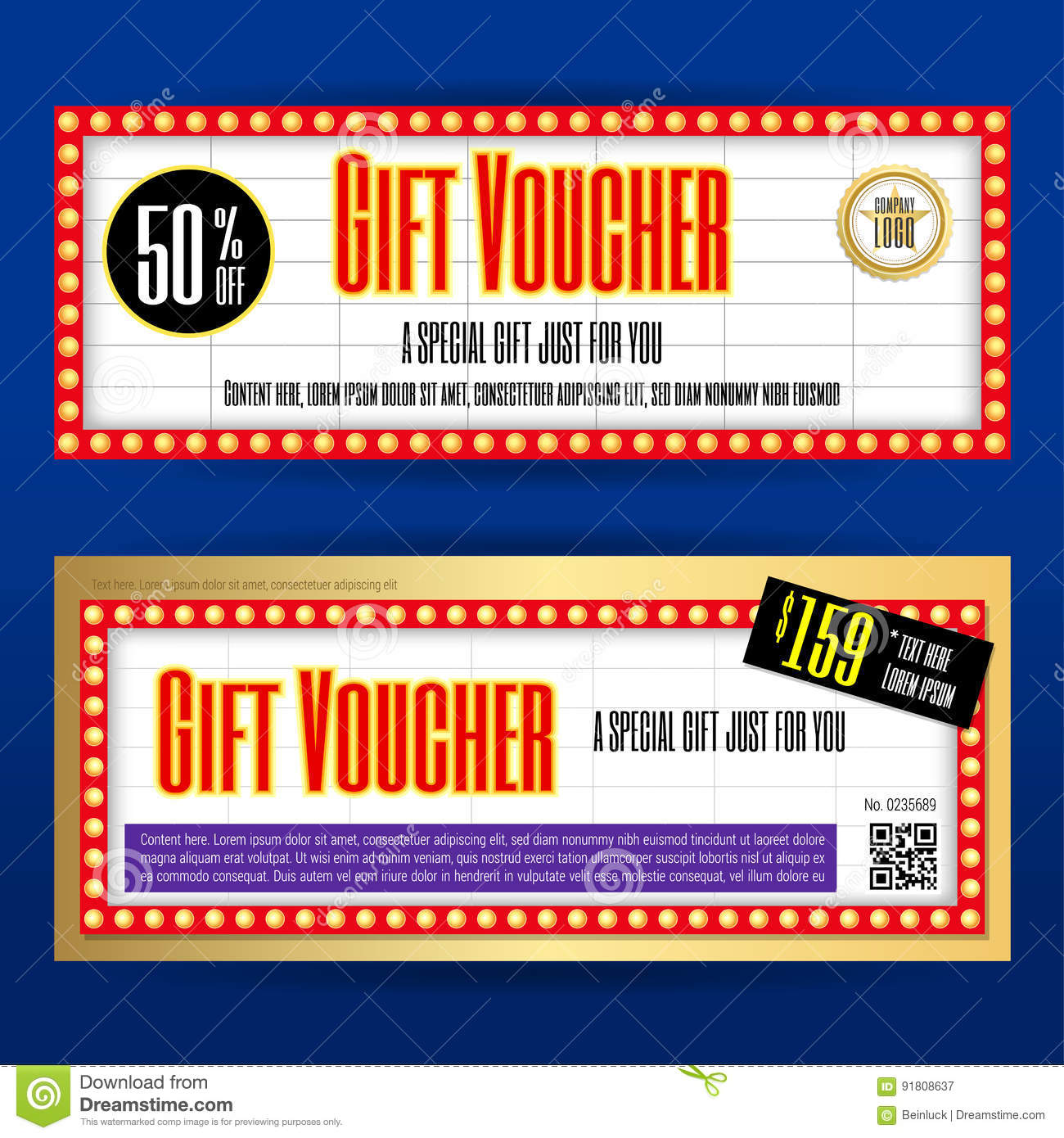 Movie Ticket Sign Theme Gift Voucher Or Gift Coupon Template For