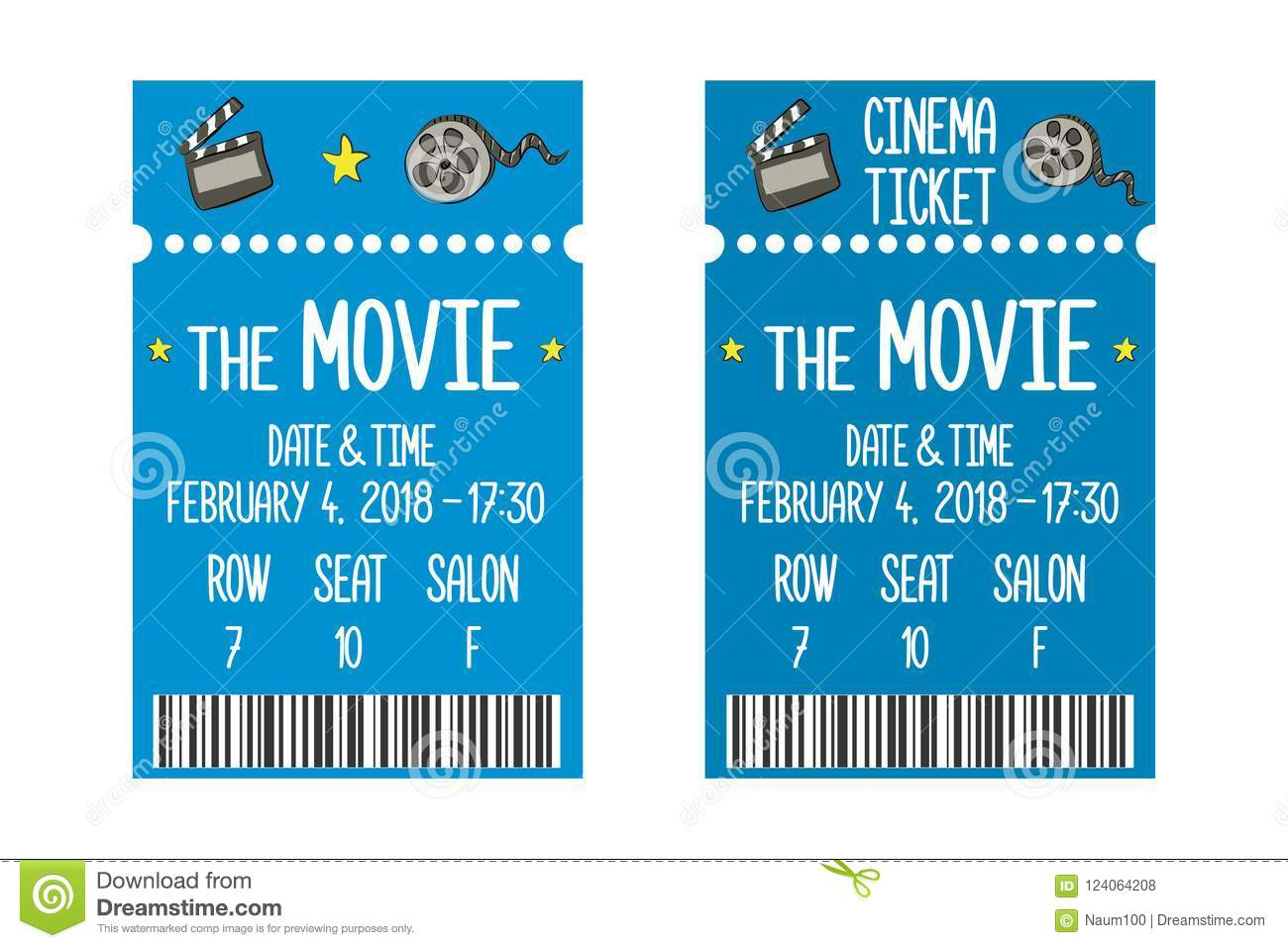 movie ticket template stock vector illustration of doodle 124064208