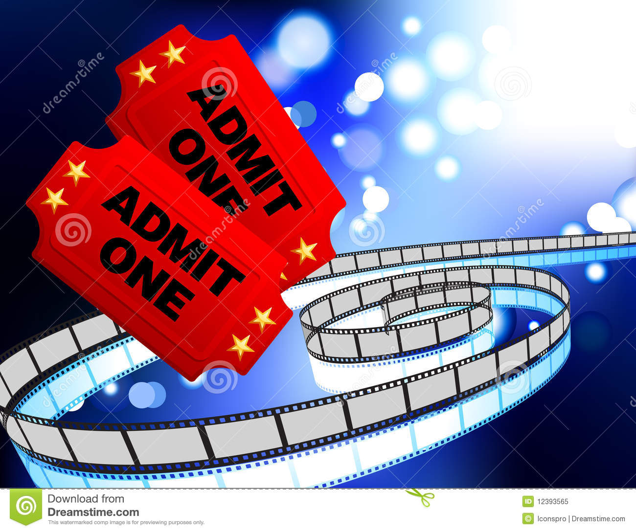 Movie Tickets With Film Reel Internet Background Royalty ...