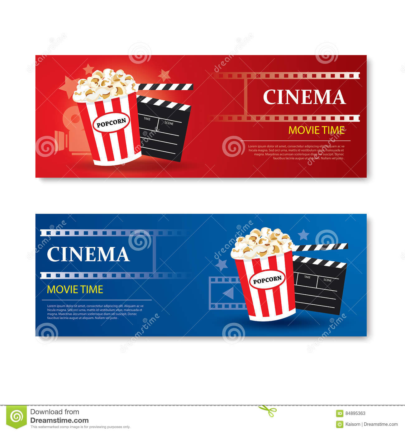 Movie Time Banner And CouponCinema Template Element Design Stock