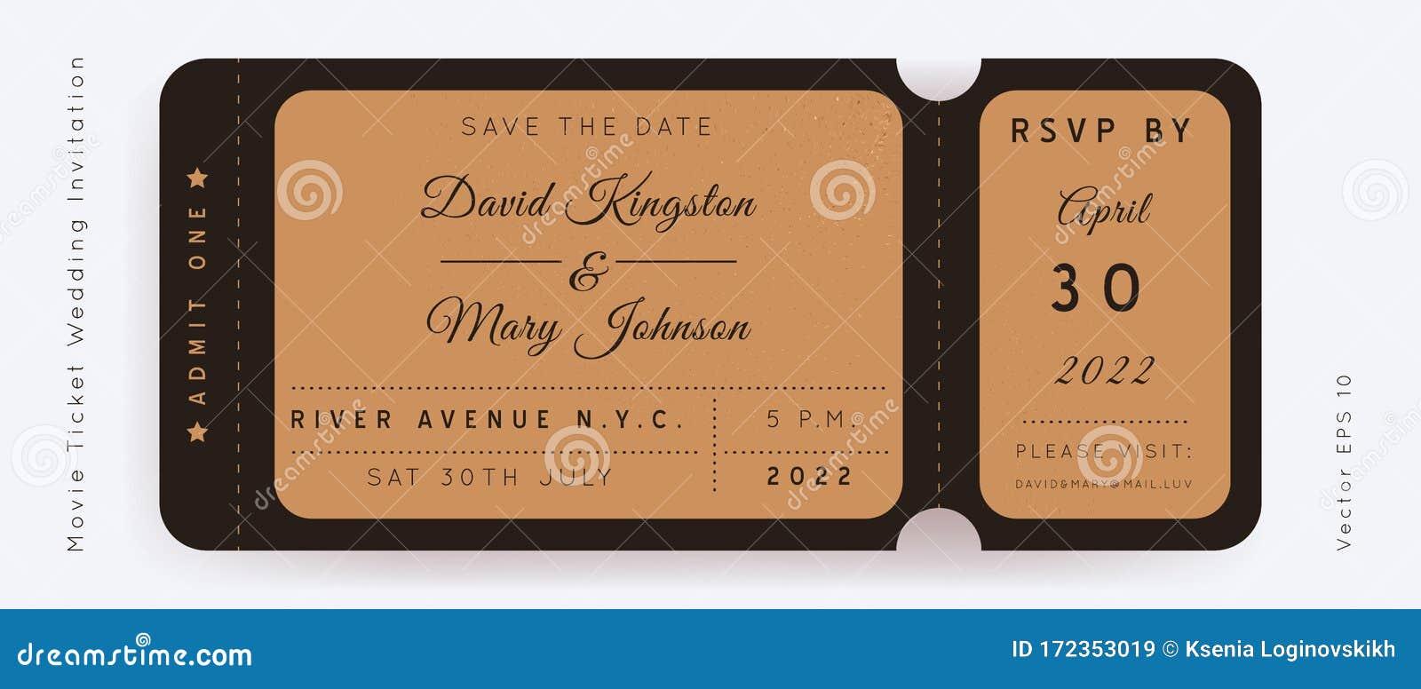 Movie Wedding Ticket Vector Stock Vector   Illustration of date ...