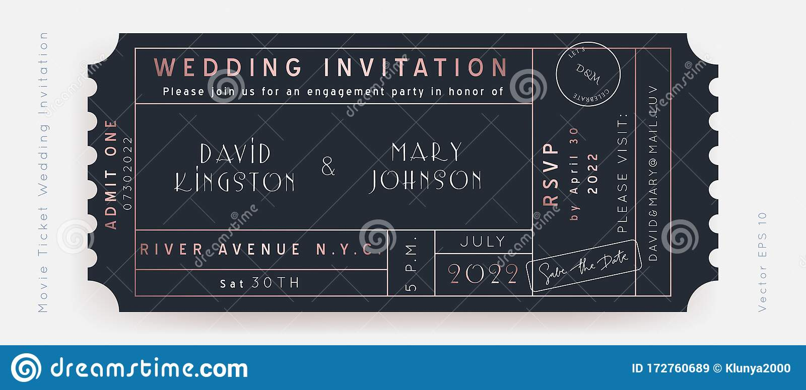 Movie Wedding Ticket Vector Stock Illustration Illustration Of Background Bridal 172760689