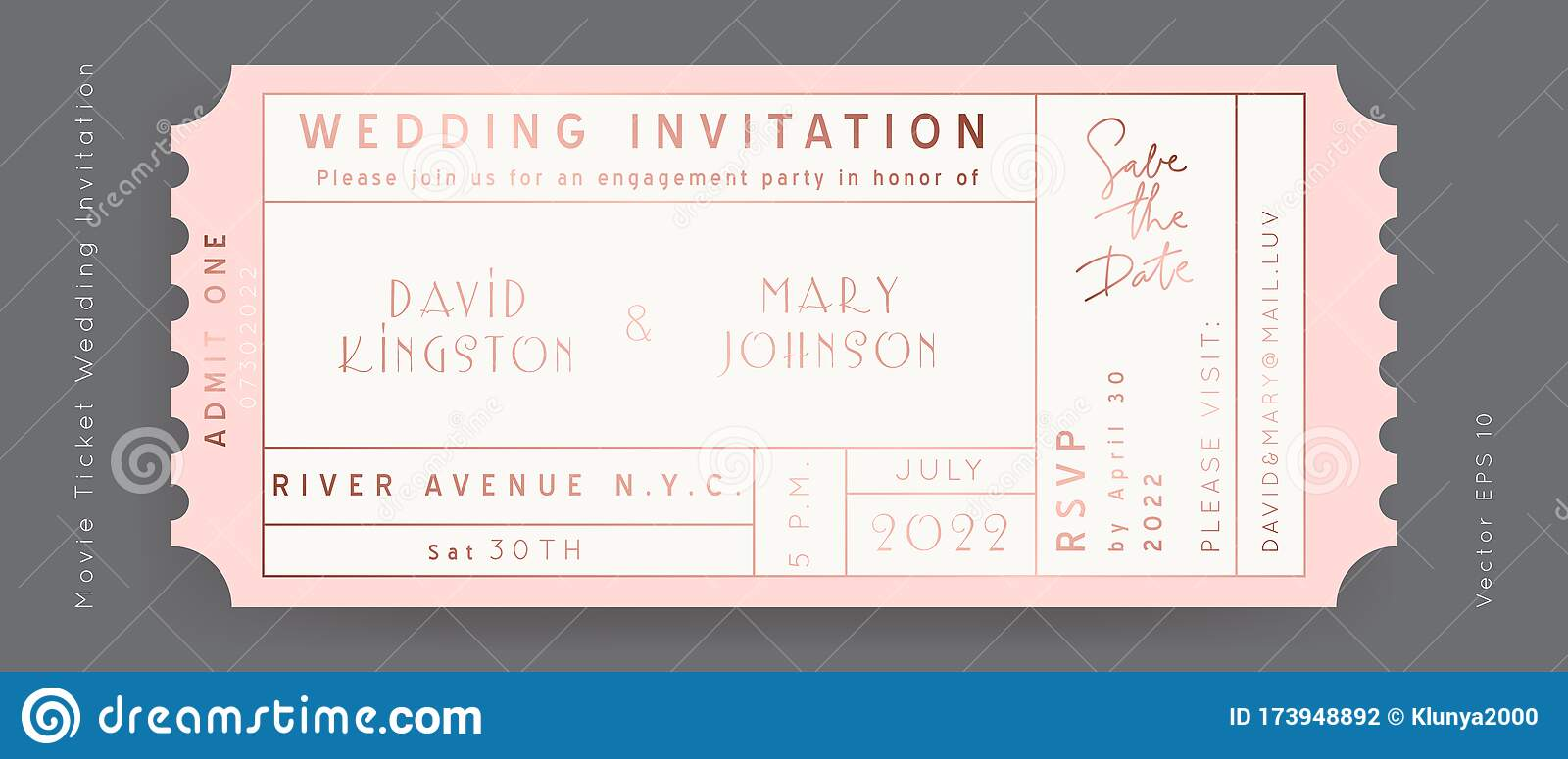 Movie Wedding Ticket Vector Stock Vector Illustration Of Golden Concert 173948892