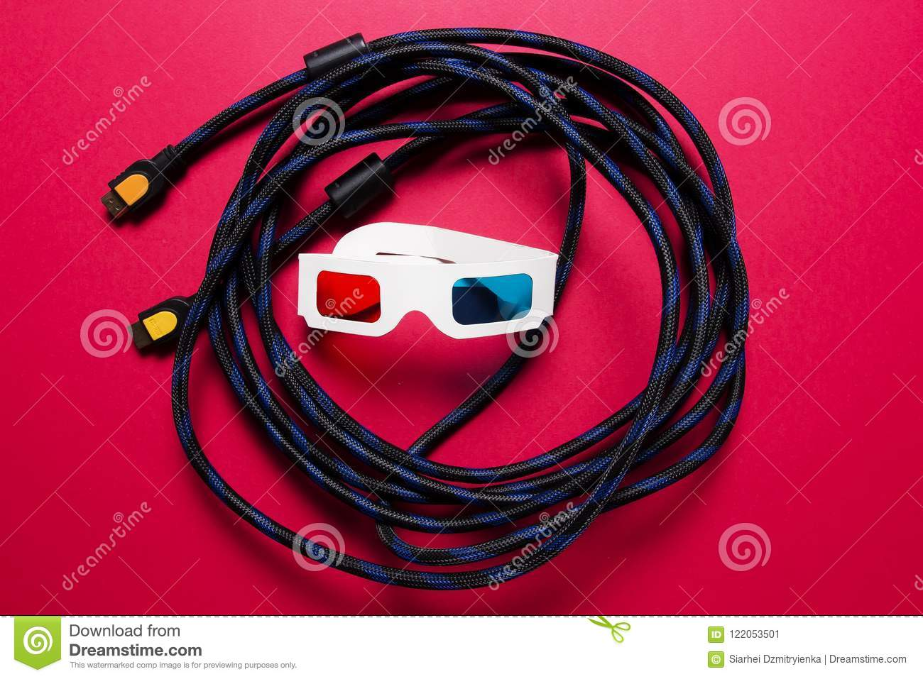 hdmi cable and paper 3d glasses  watch the movie in the 3d house