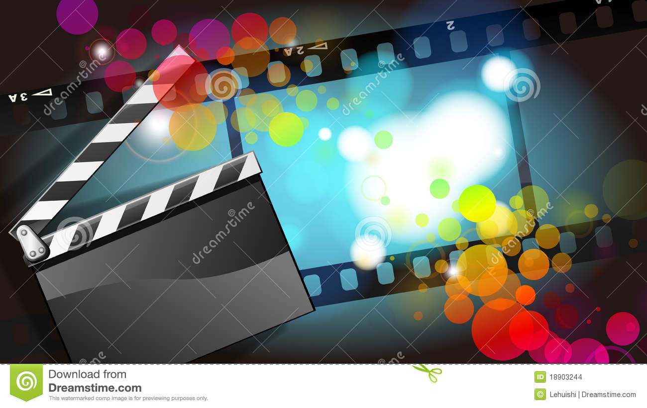 movies film and clapper board background stock images