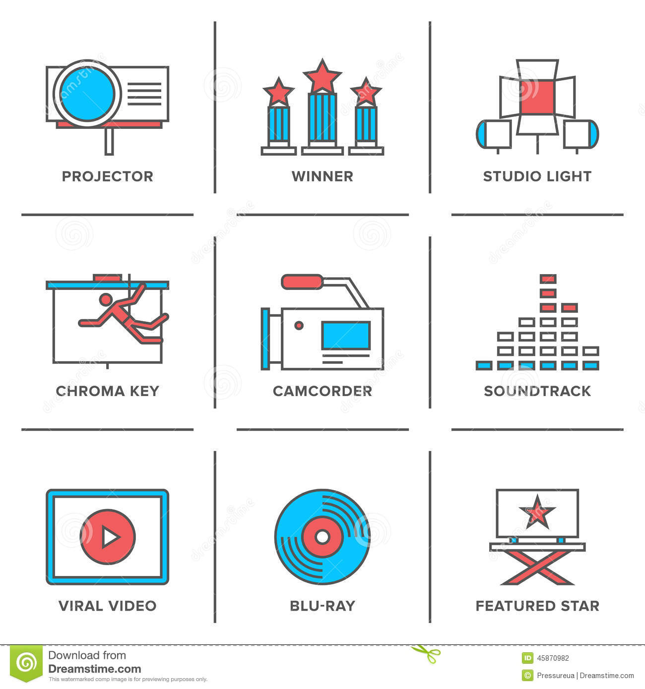 Movies Production Line Icons Set Stock Vector - Image ...