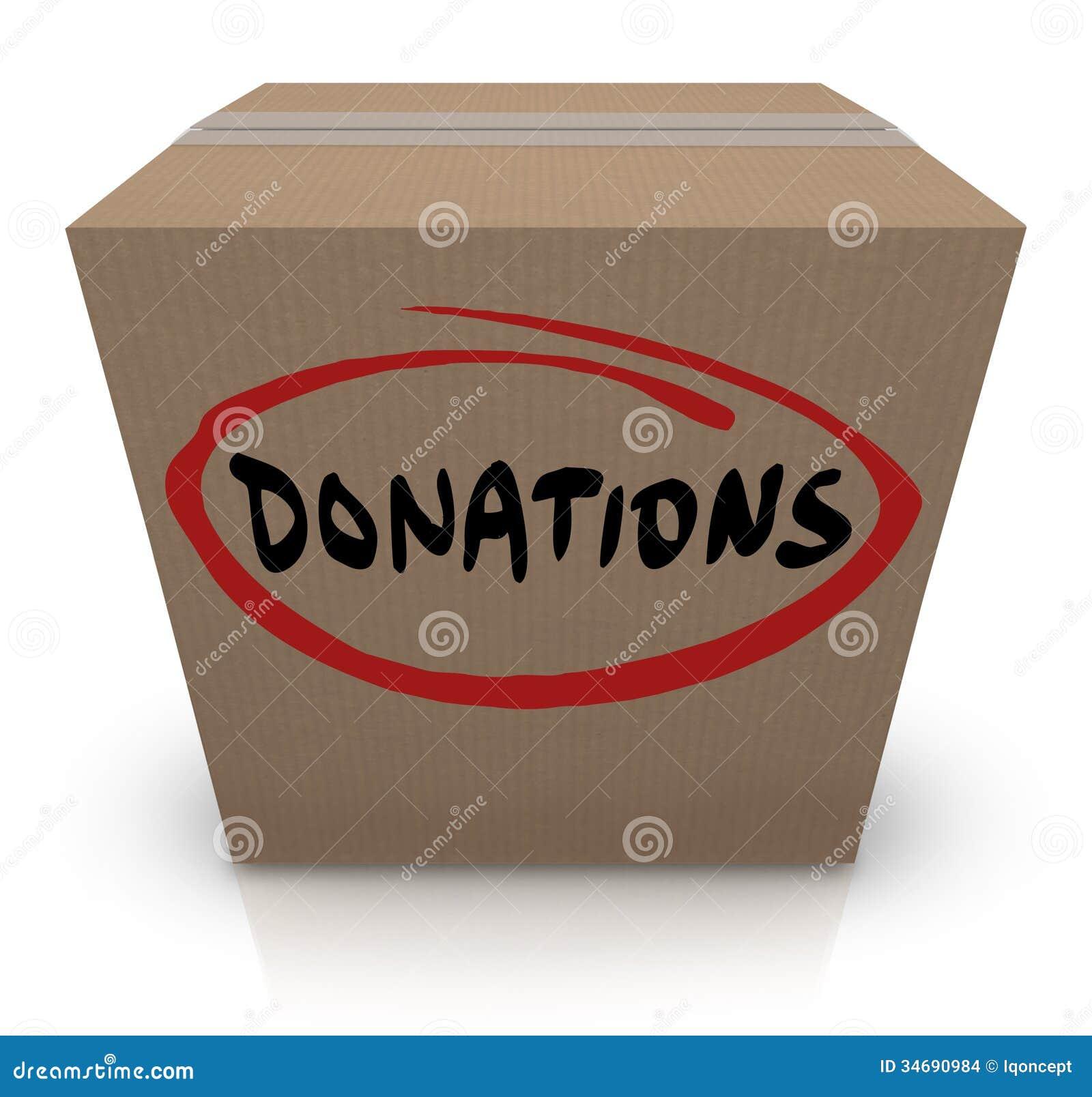 Movimentação da caridade do alimento da caixa de cartão das doações