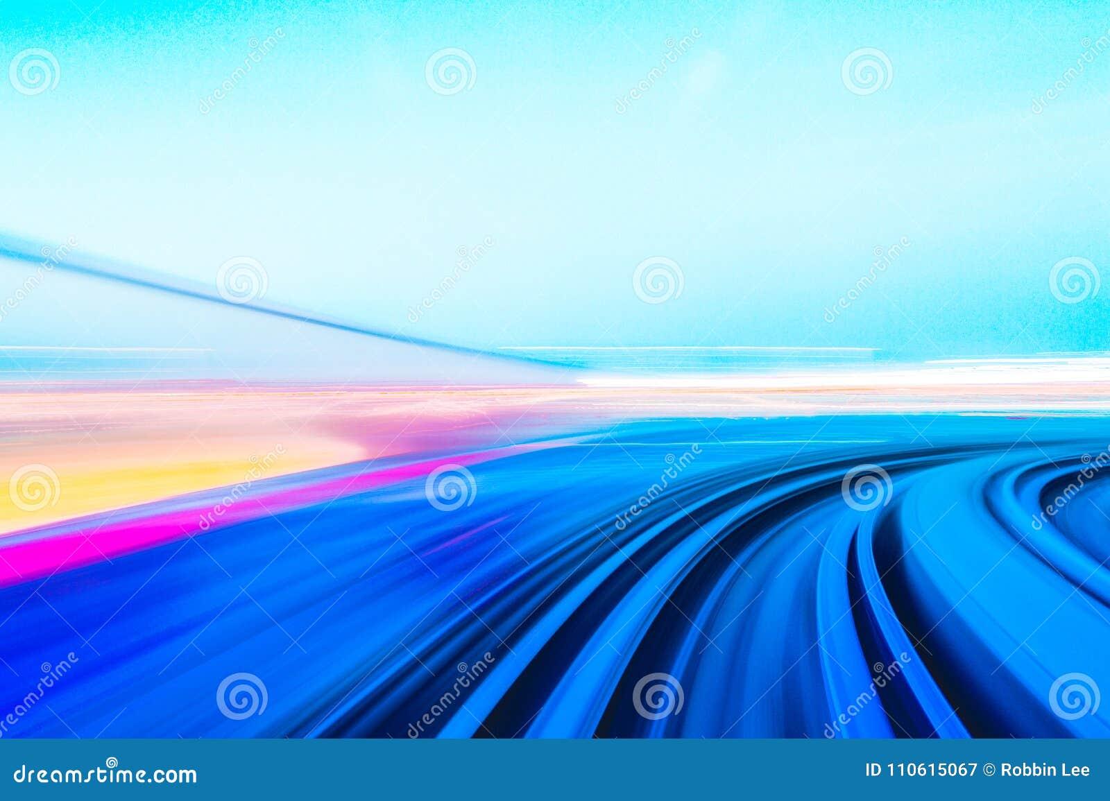 Movimento da velocidade no túnel urbano da estrada da estrada