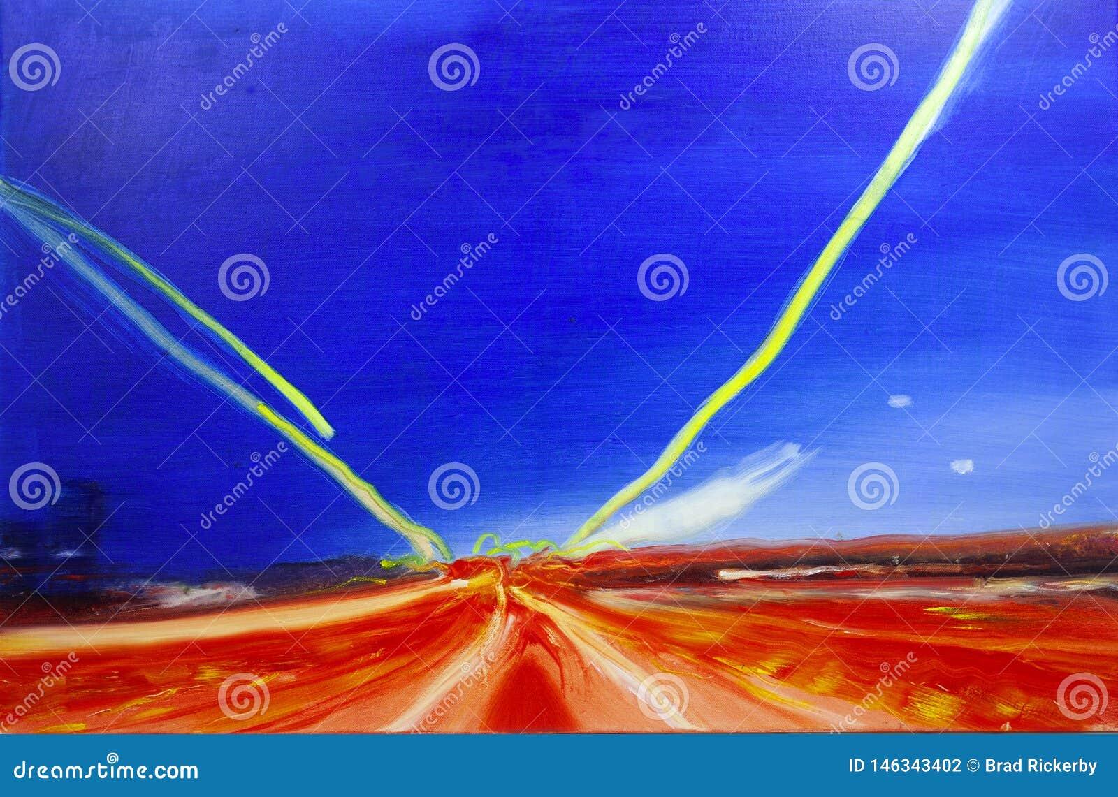 Movimento de pintura contemporâneo moderno da estrada do óleo do sumário