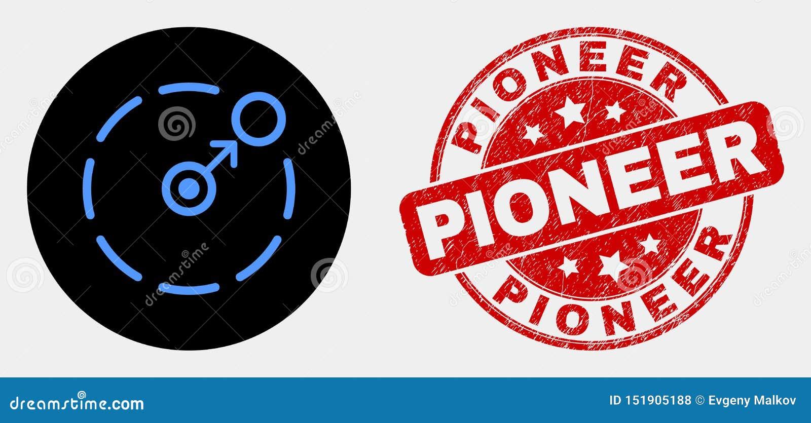 Movimento do vetor circundar o ícone do perímetro e o selo pioneiro do Grunge