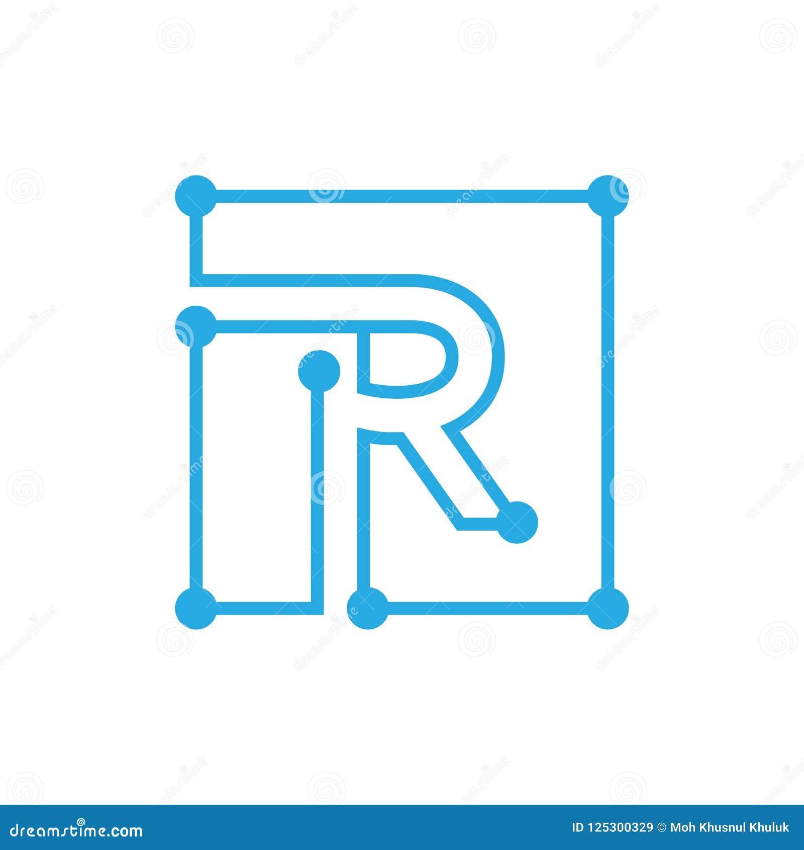 Movimiento del esquema del cuadrado del logotipo del blockchain de la letra inicial R