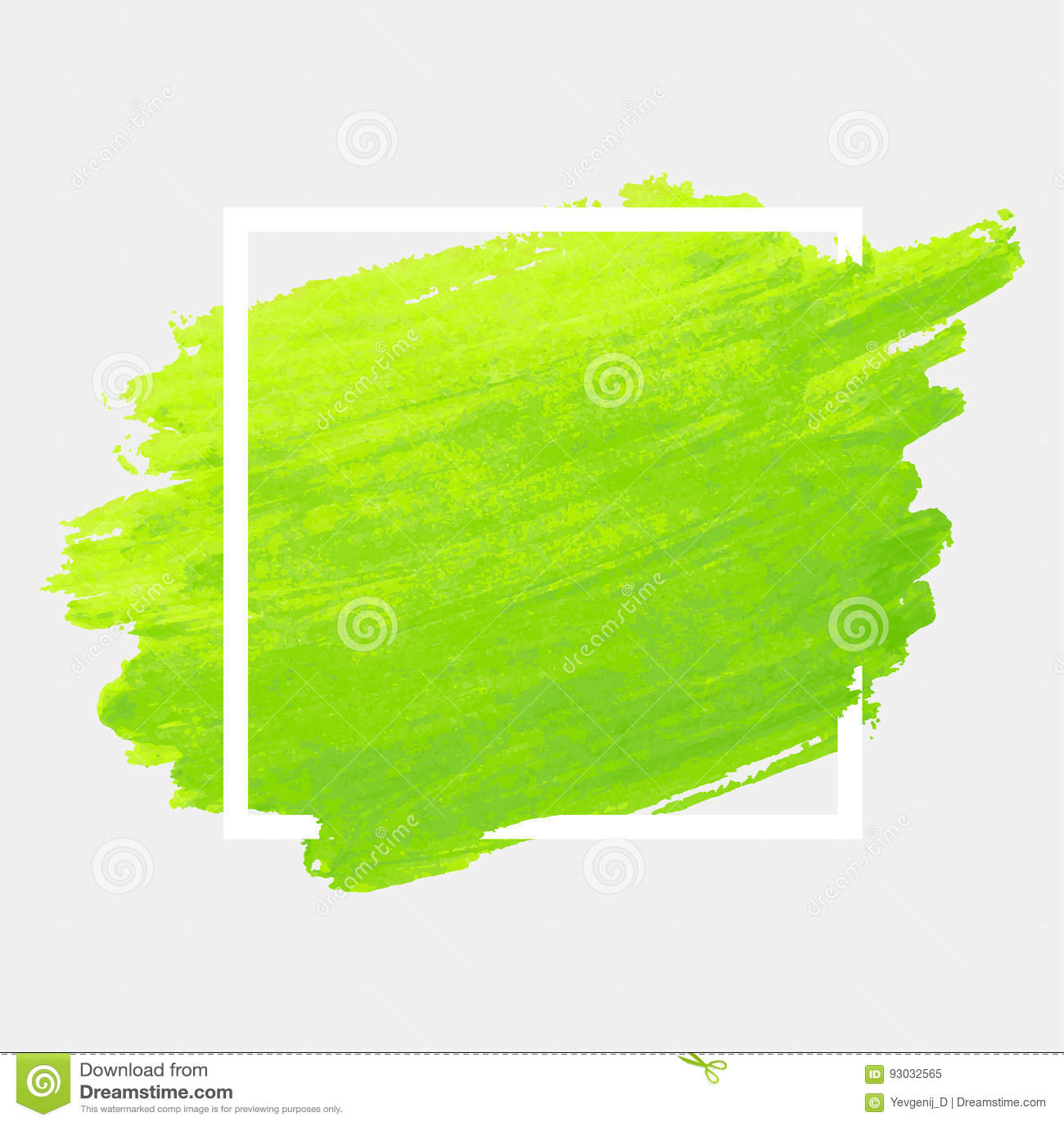 Movimiento verde de la acuarela con el marco blanco Textura abstracta de la pintura del cepillo del fondo del Grunge