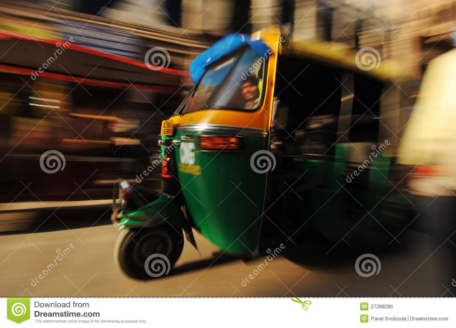 Moving auto rickshaw, gammala Delhi, Indien