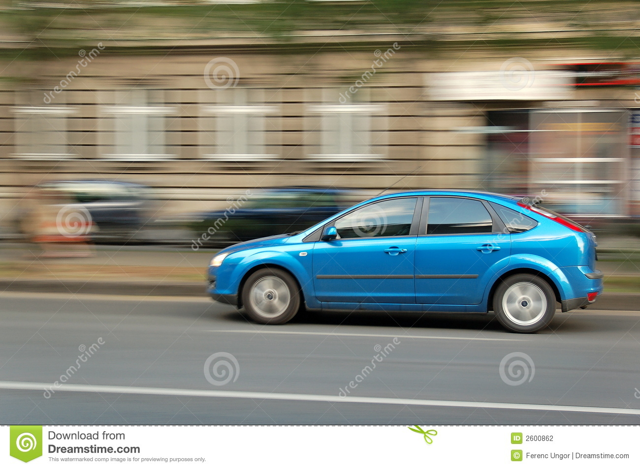 moving blue car stock photo image of lamp twilit transportation 2600862. Black Bedroom Furniture Sets. Home Design Ideas