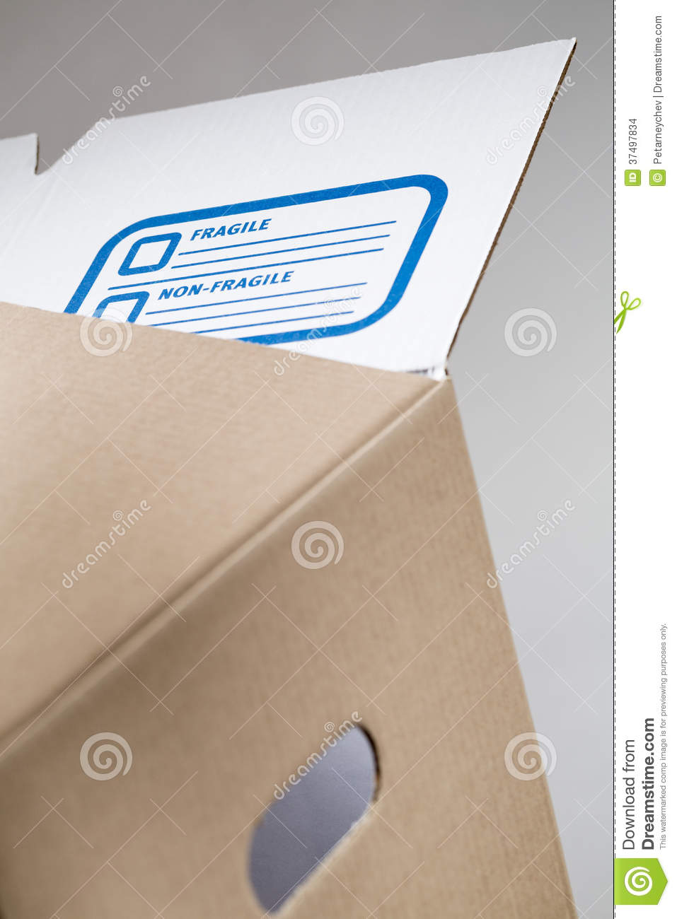 Moving Box with Fragile Label